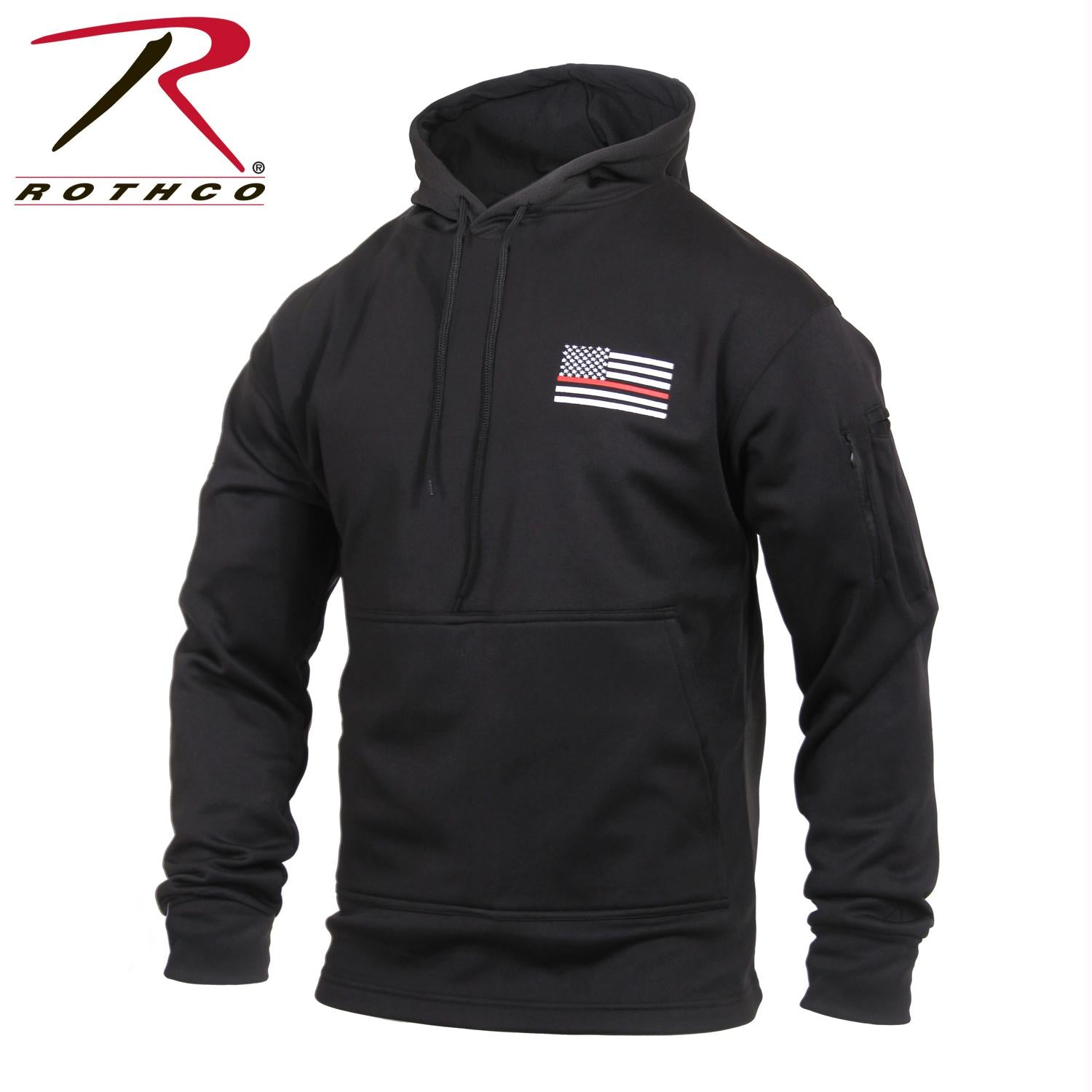 Rothco Thin Red Line Concealed Carry Hoodie - Black / L