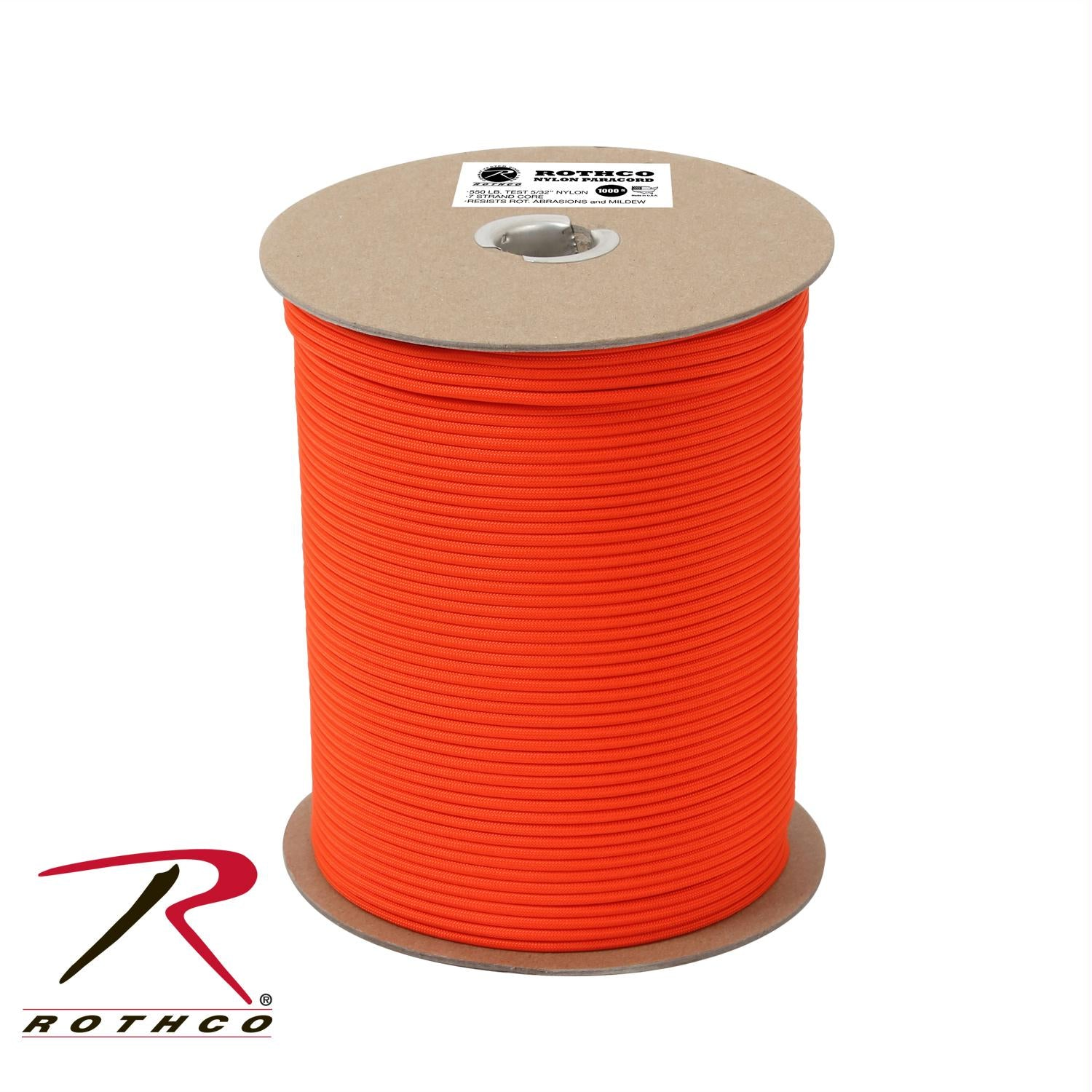 Rothco Nylon Paracord 550lb 1000 Ft Spool - Safety Orange