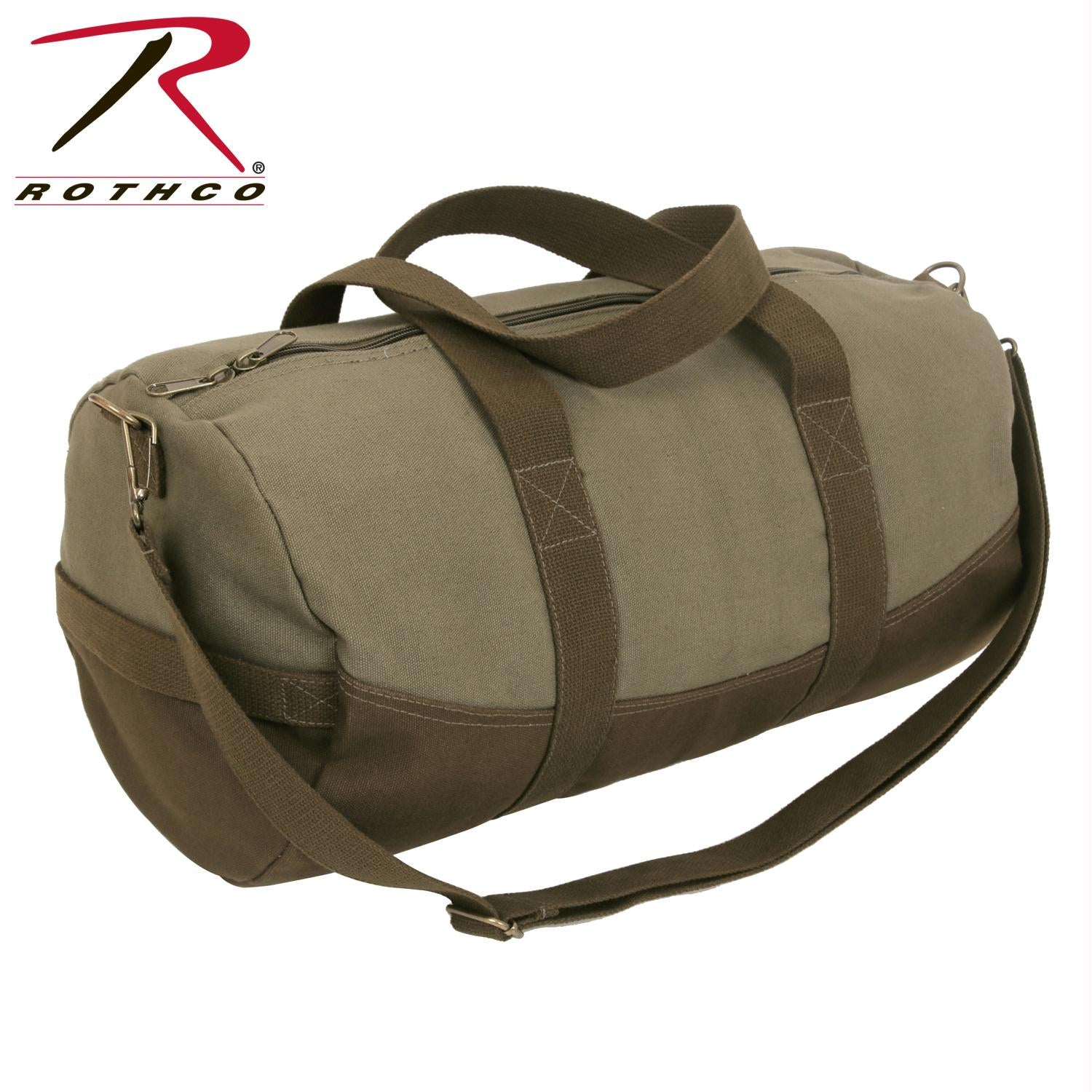 Rothco Two-Tone Canvas Duffle Bag With Brown Bottom - Olive Drab / Brown