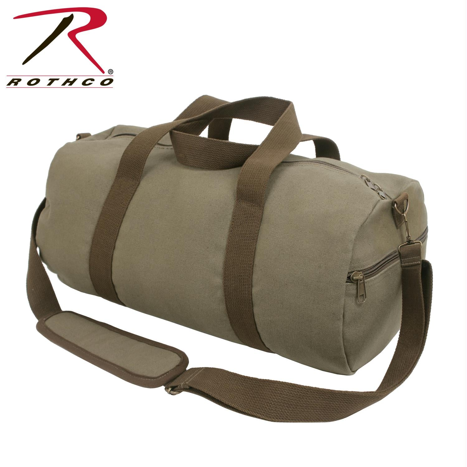Rothco Two-Tone Canvas Shoulder Duffle Bag - Vintage Olive with Brown Straps - Olive Drab