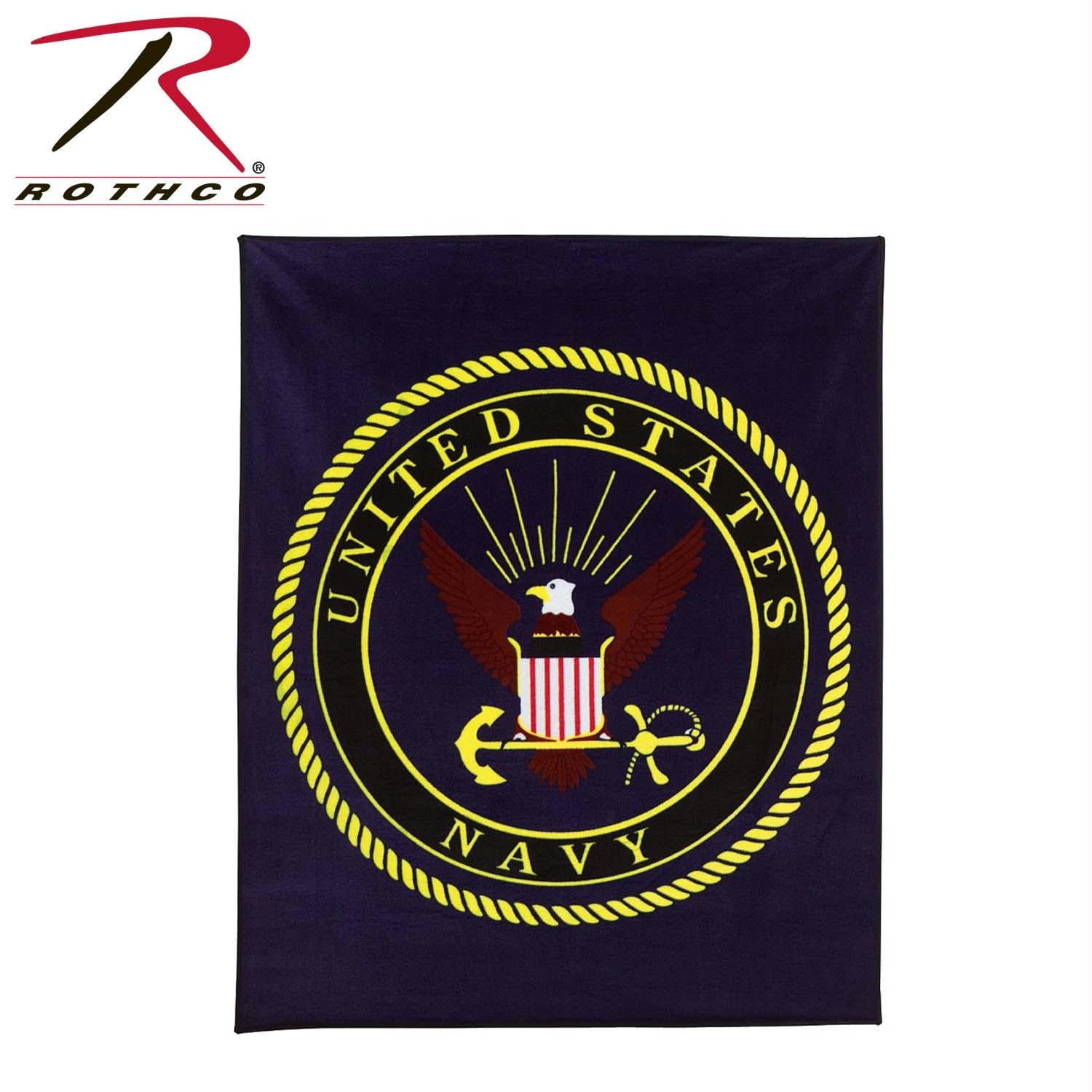Rothco Military Insignia Fleece Blankets - Navy