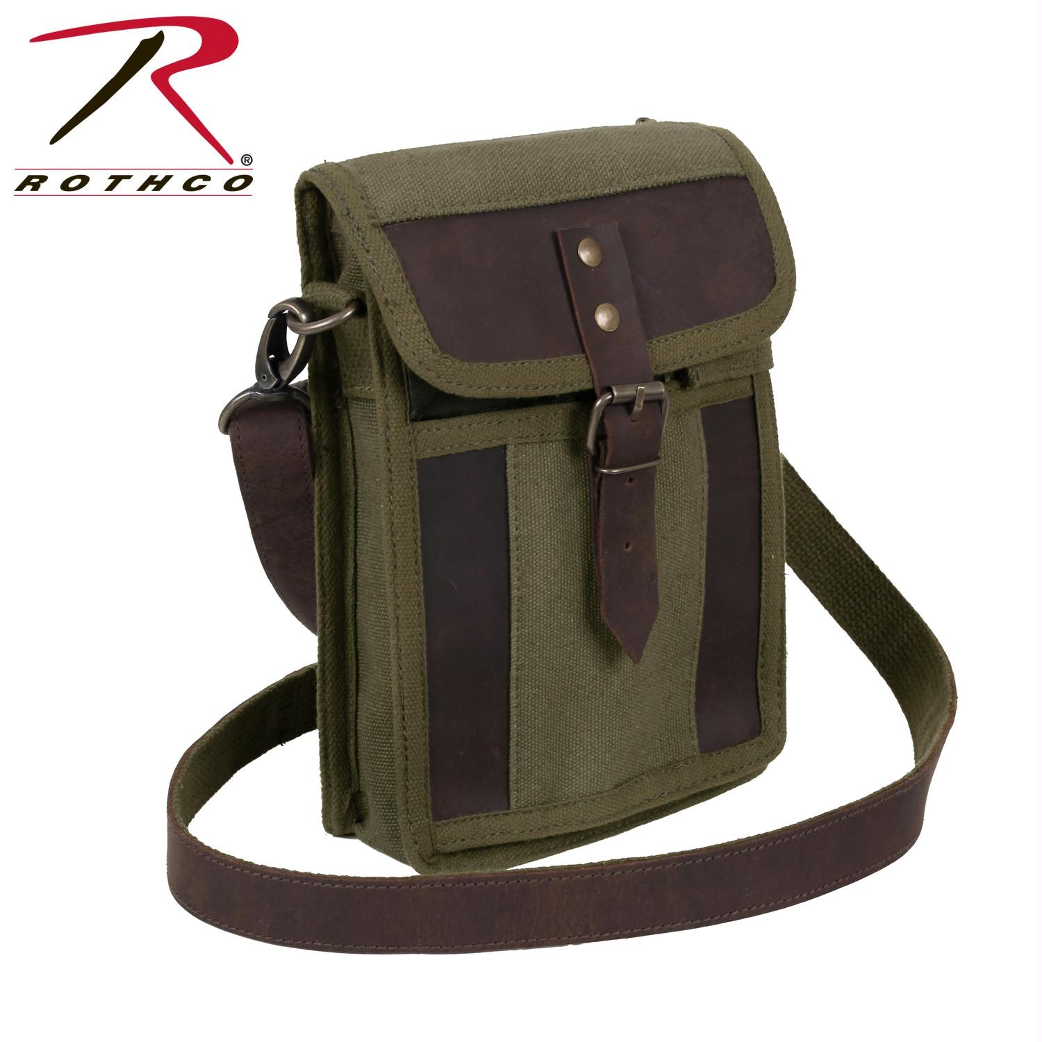 Rothco Canvas Travel Portfolio Bag With Leather Accents - Olive Drab / One Size