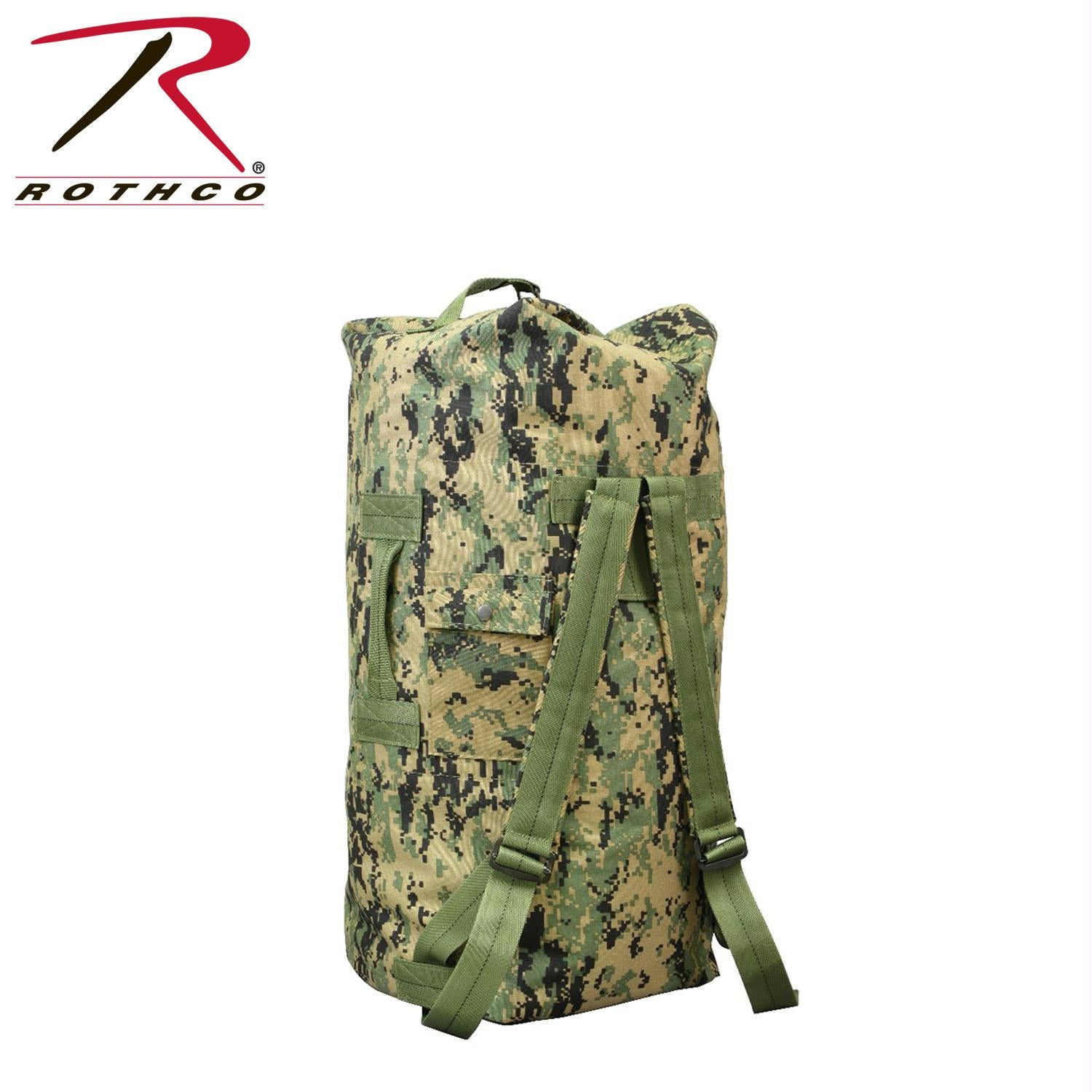 Rothco G.I. Type Enhanced Double Strap Duffle Bag - Woodland Digital Camo
