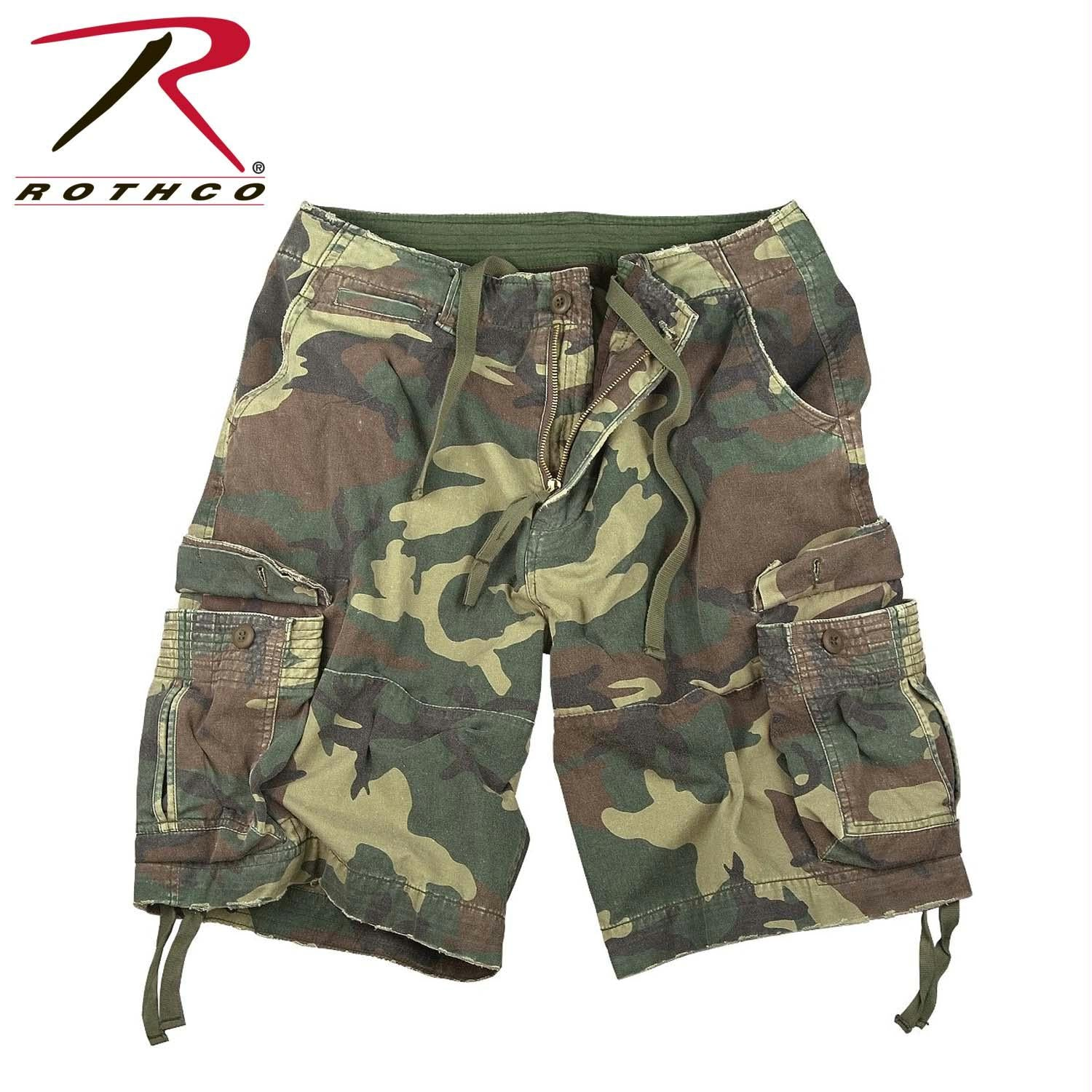 Rothco Vintage Camo Infantry Utility Shorts - Woodland Camo / XS