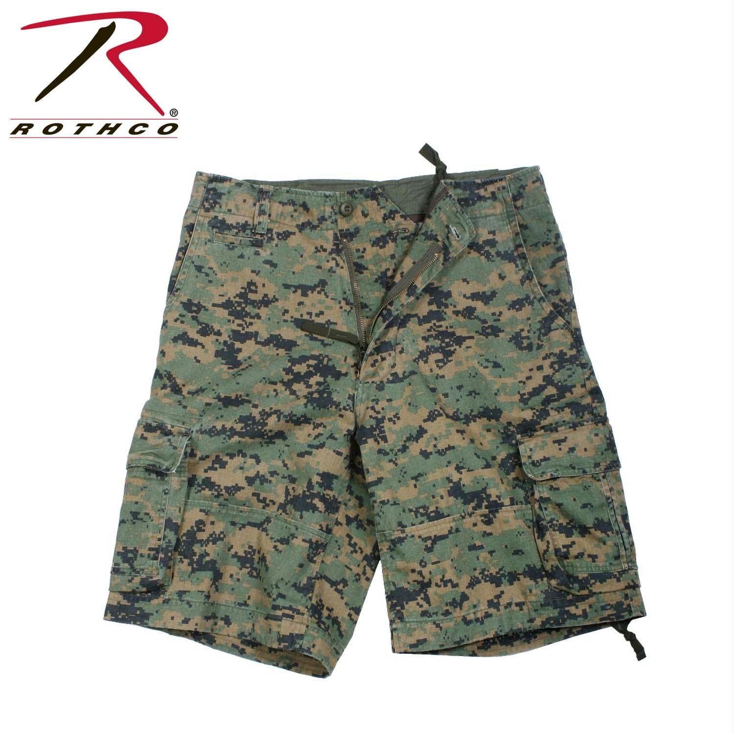 Rothco Vintage Camo Infantry Utility Shorts - Woodland Digital Camo / XS