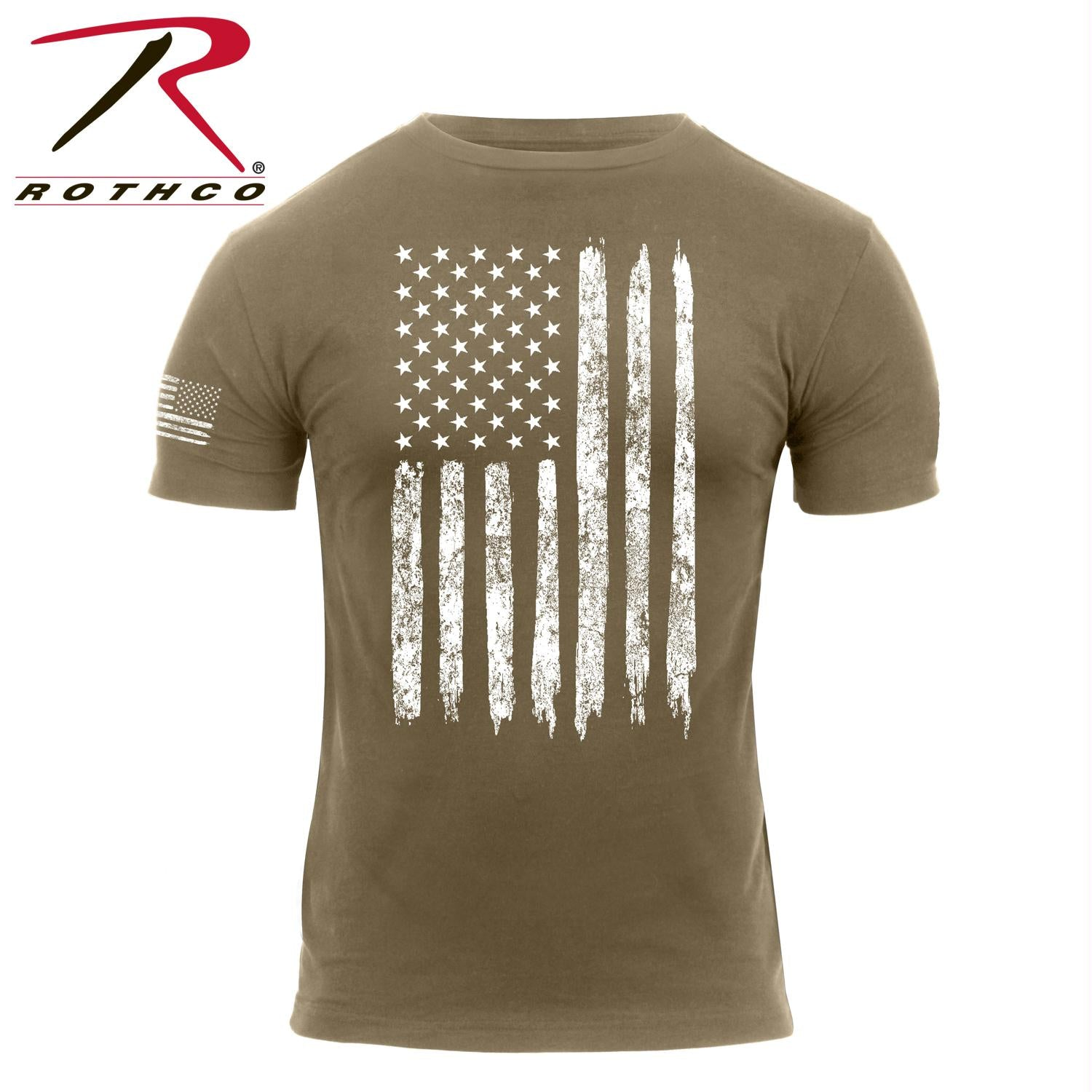 Rothco Distressed US Flag T-Shirt - Coyote Brown / XL