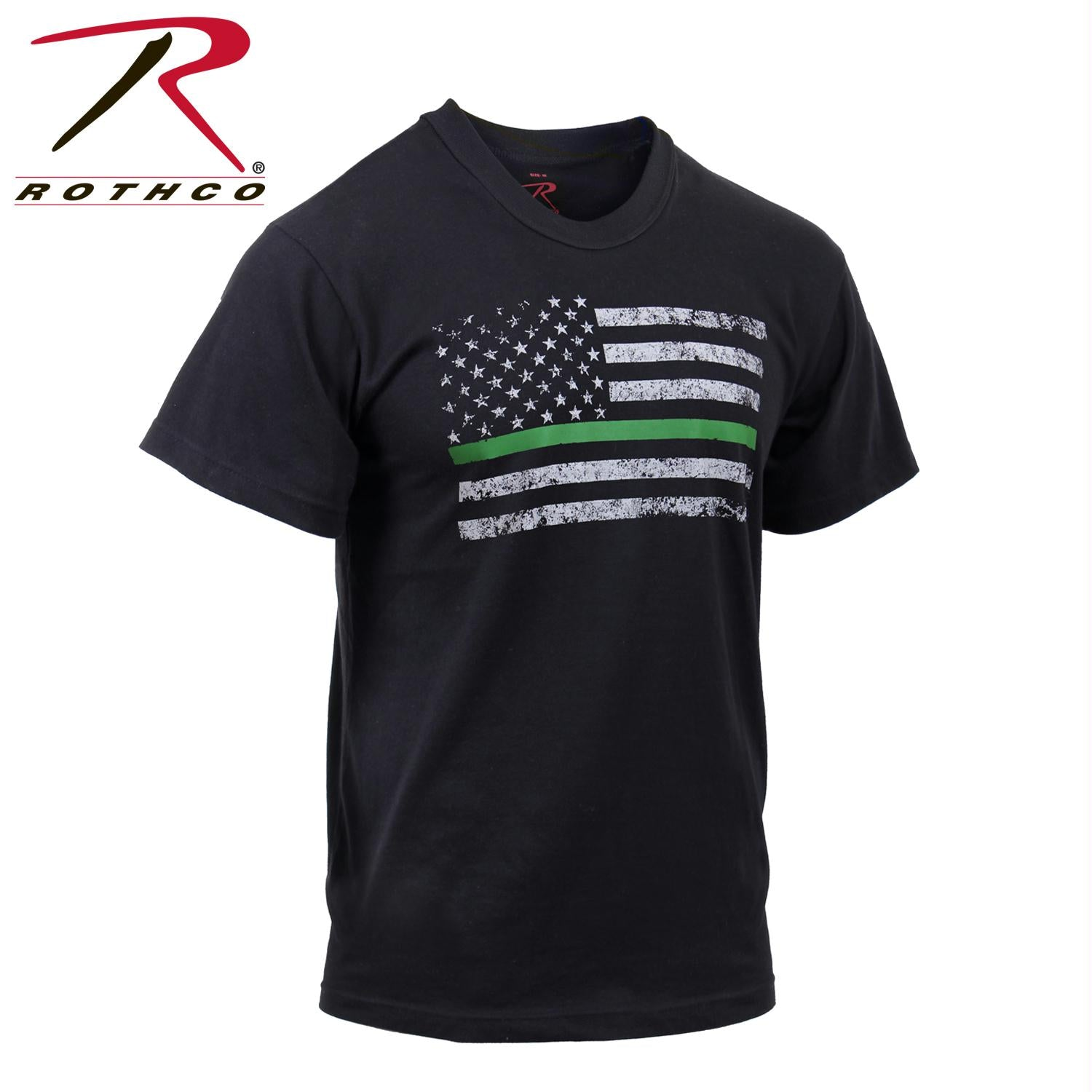 Rothco Thin Green Line Distressed Flag T-Shirt - Black / XL