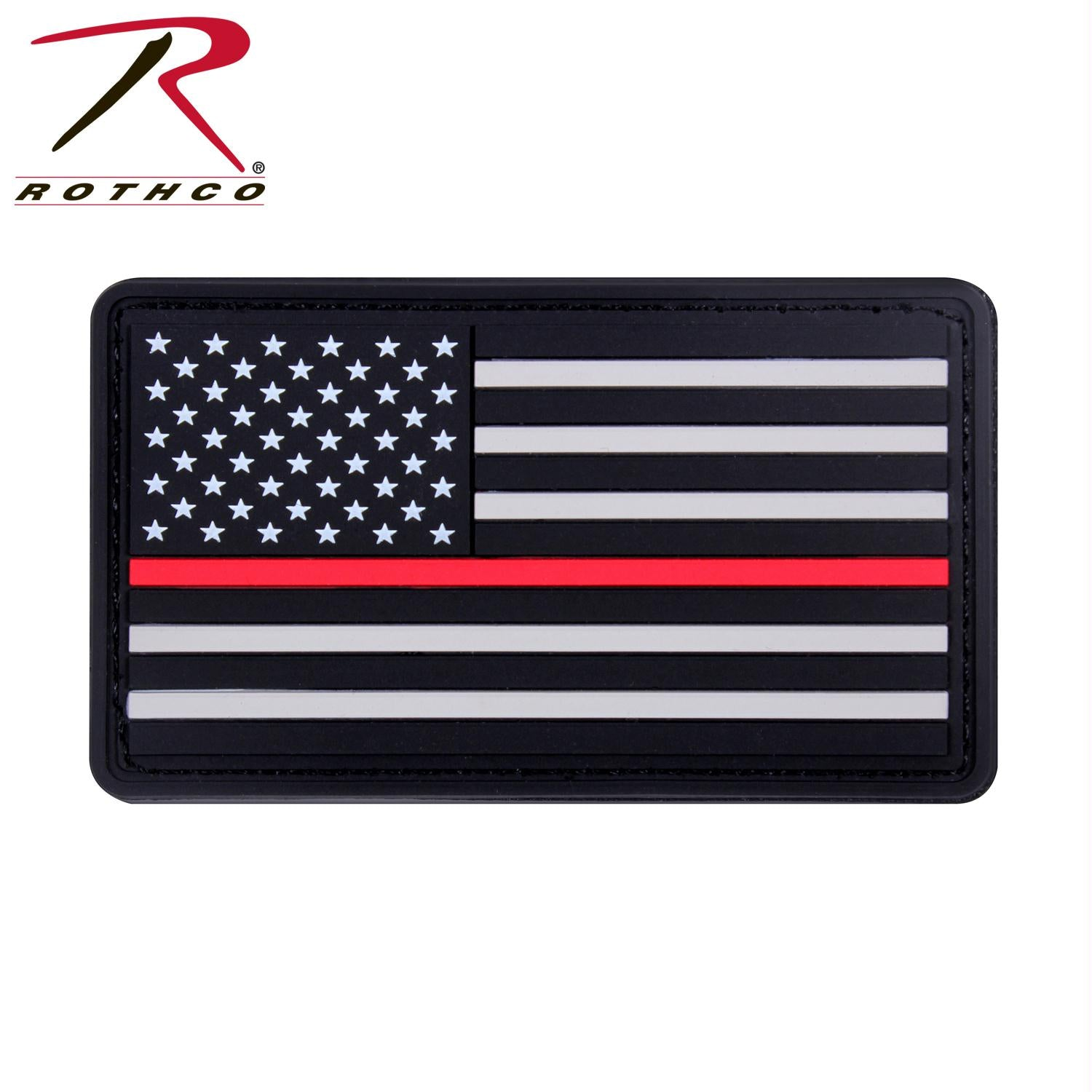 Rothco Rubber Thin Red Line Flag Patch - Black / Red / One Size