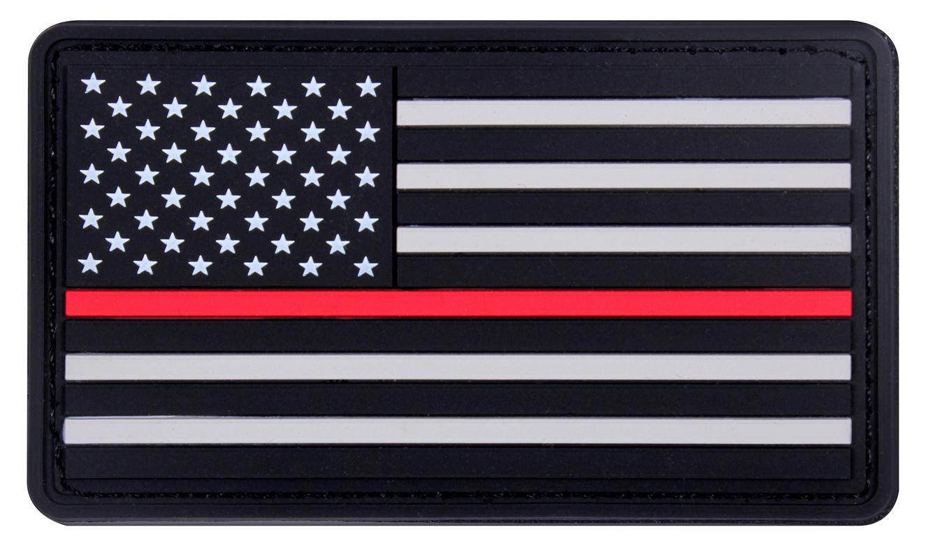 Rothco Rubber Thin Red Line Flag Patch