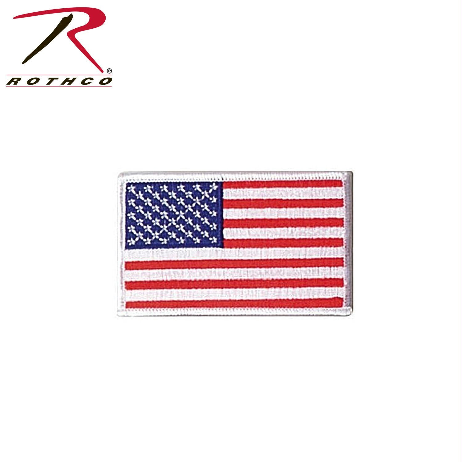 Rothco Iron On / Sew On Embroidered US Flag Patch - Red White Blue with White Border / Normal