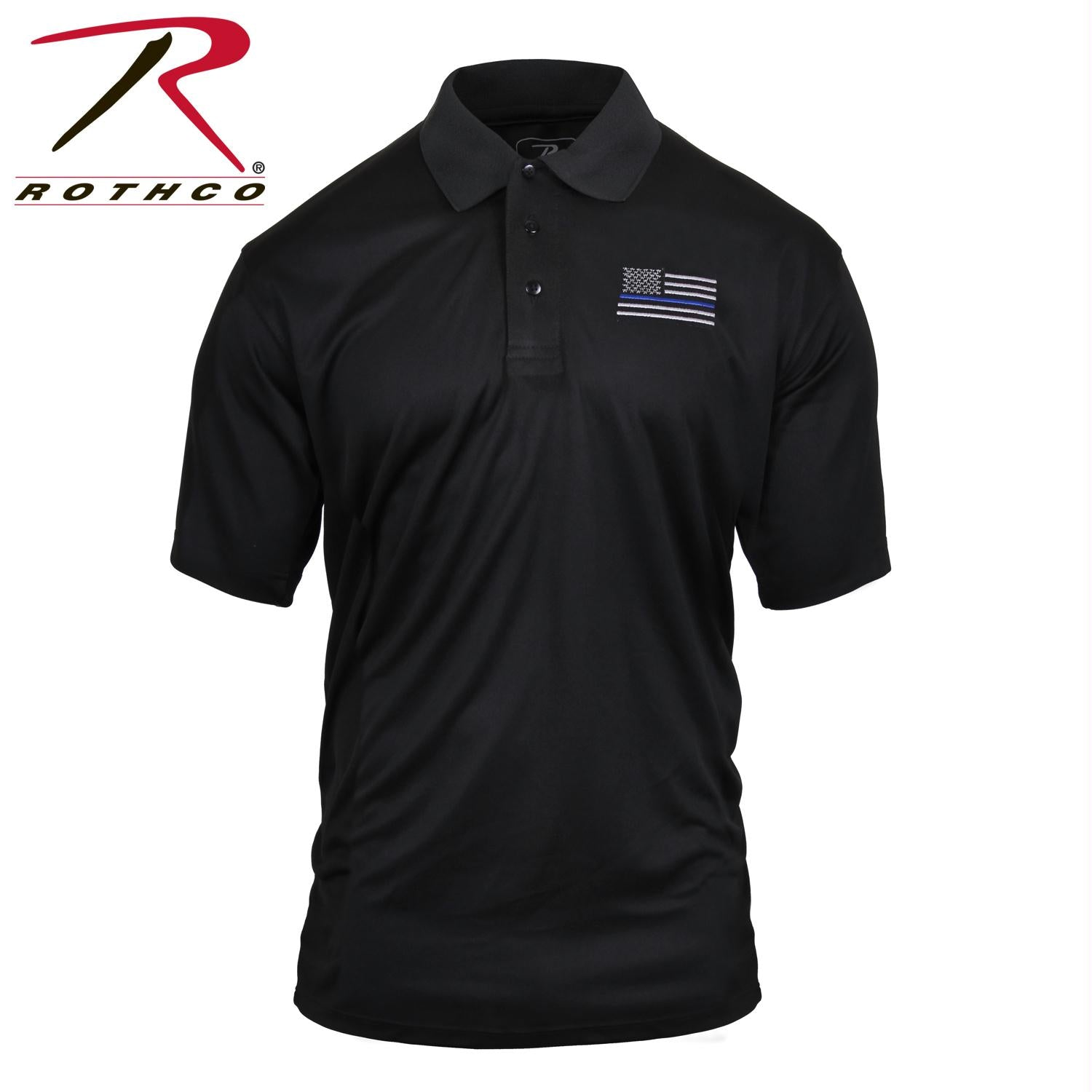 Rothco Thin Blue Line Moisture Wicking Polo - Black / 3XL