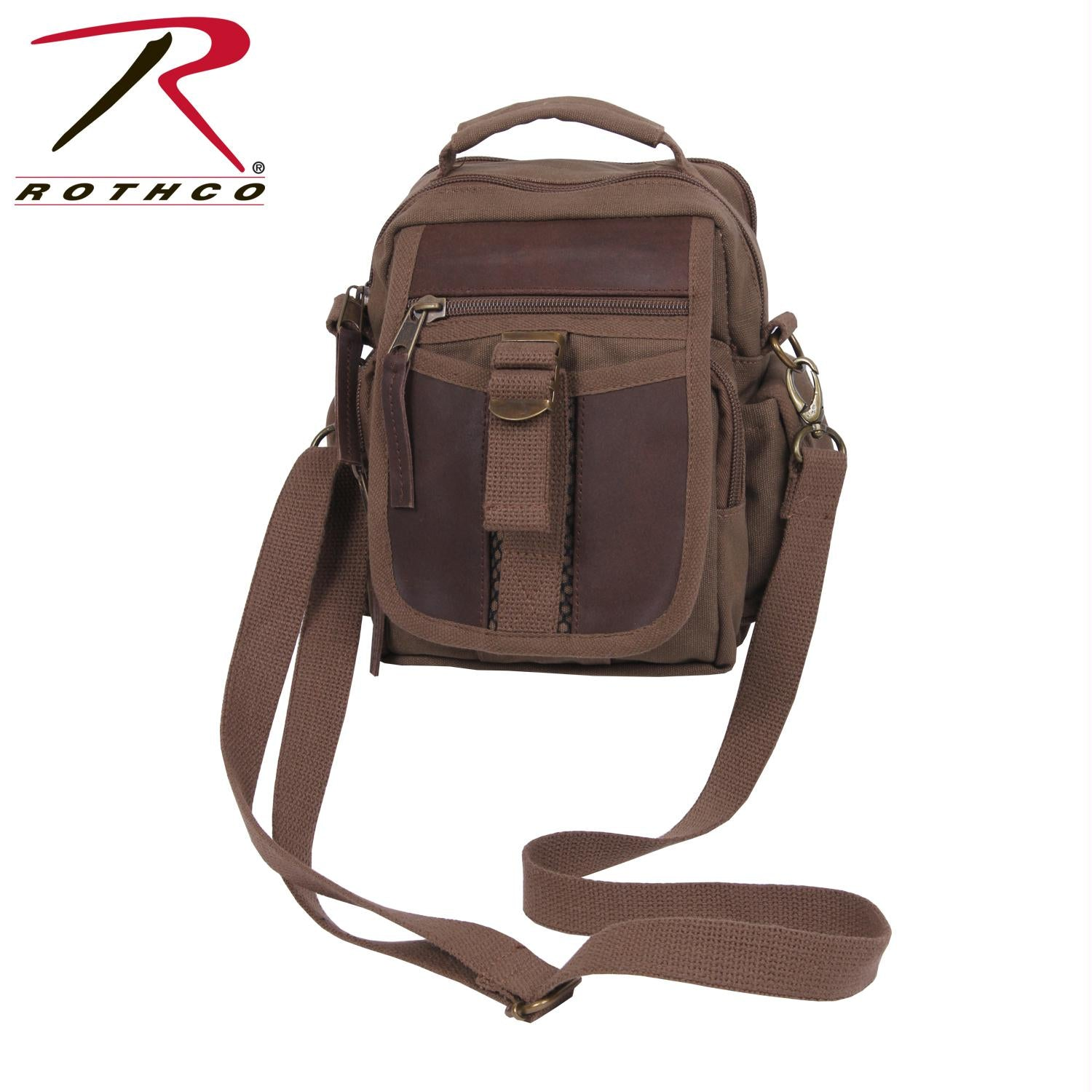 Rothco Canvas & Leather Travel Shoulder Bag - Brown