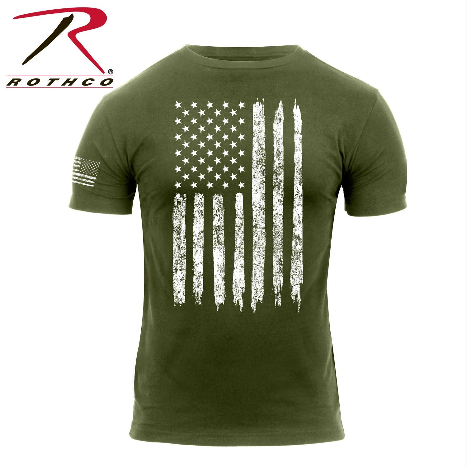 Rothco Distressed US Flag T-Shirt - Olive Drab / L