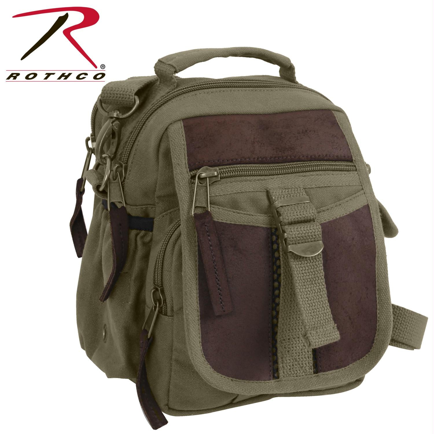 Rothco Canvas & Leather Travel Shoulder Bag - Olive Drab