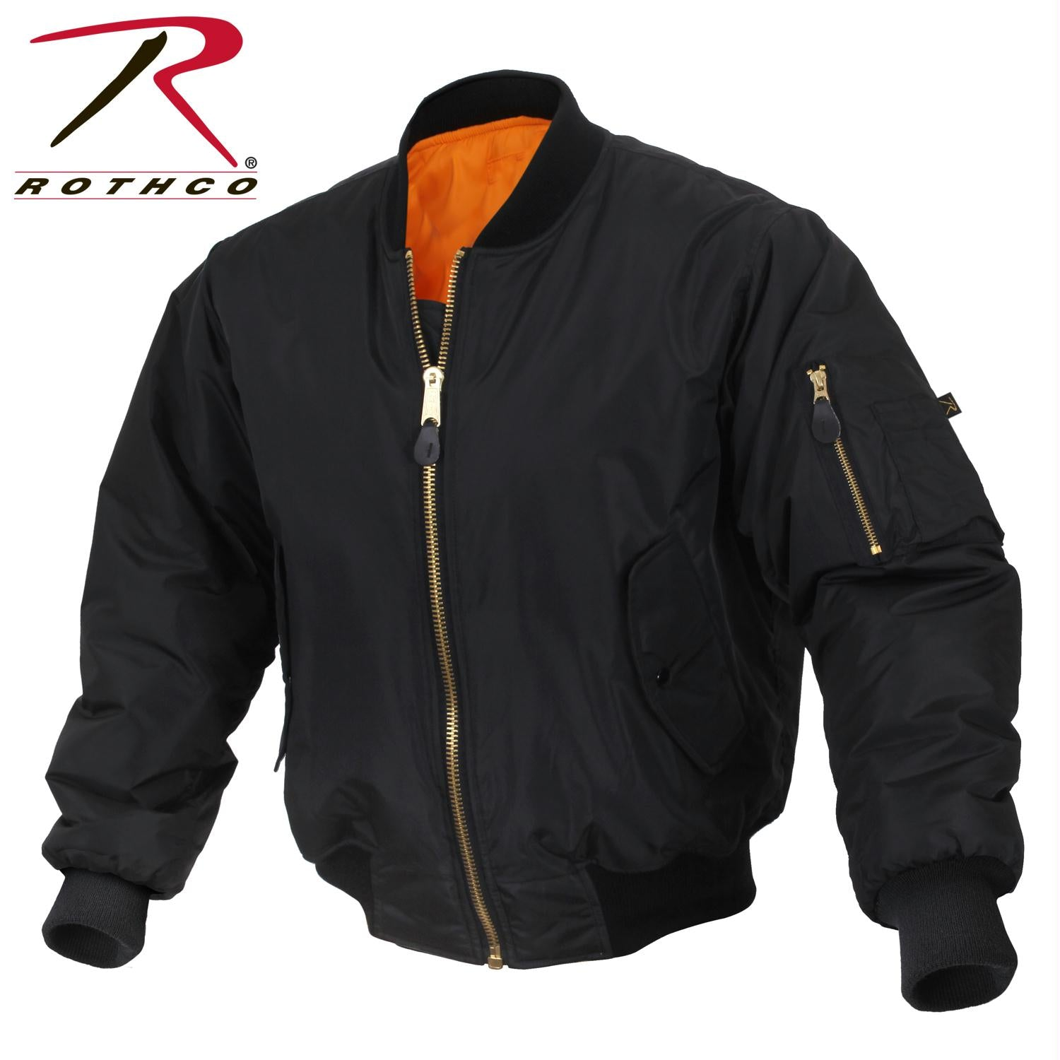 Rothco Enhanced Nylon MA-1 Flight Jacket - Black / 3XL