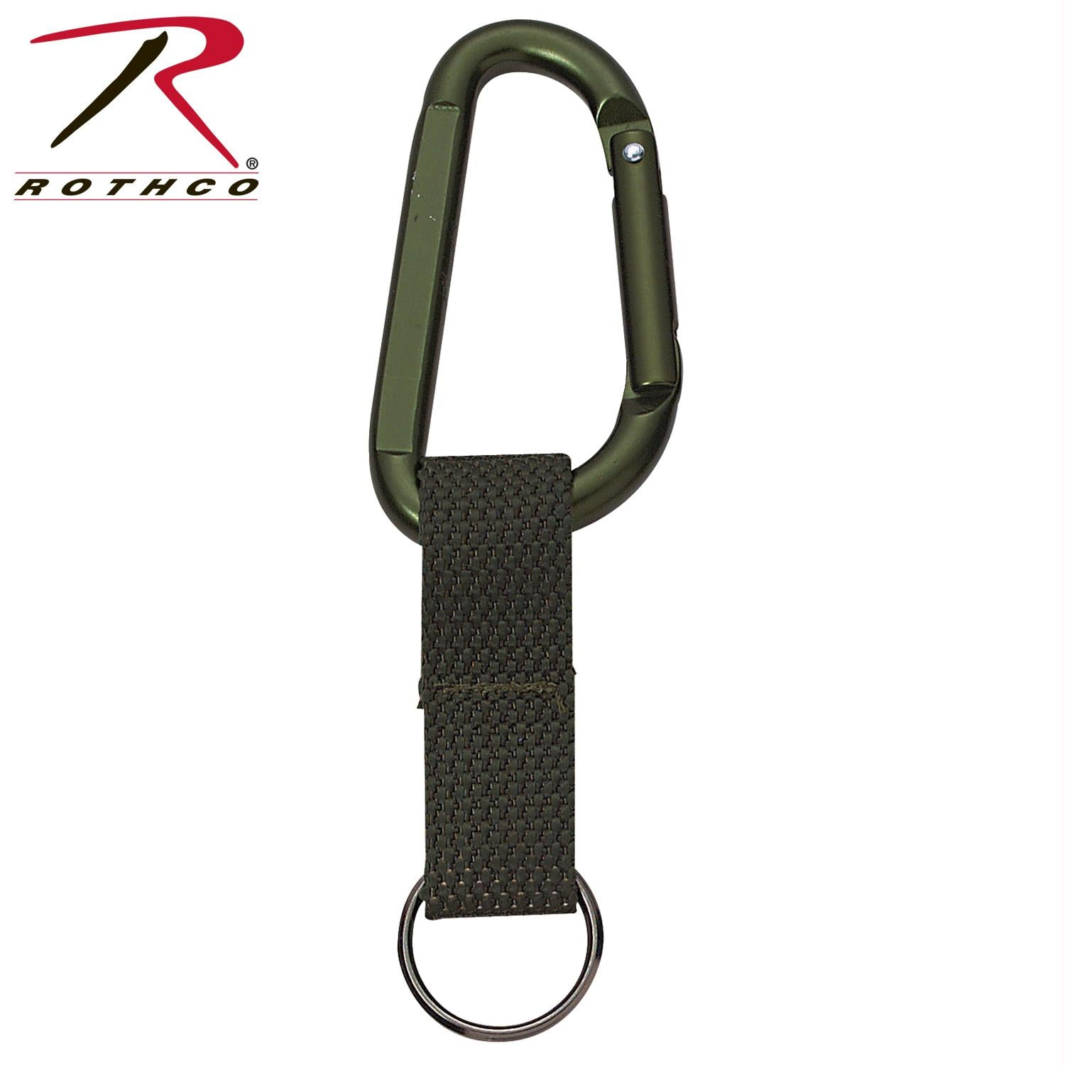 Rothco Jumbo 80MM Carabiner With Web Strap Key Ring - Olive Drab