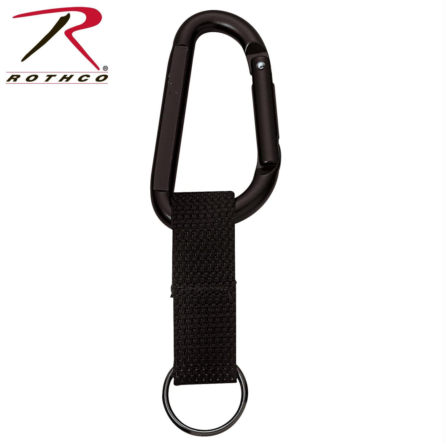 Rothco Jumbo 80MM Carabiner With Web Strap Key Ring - Black