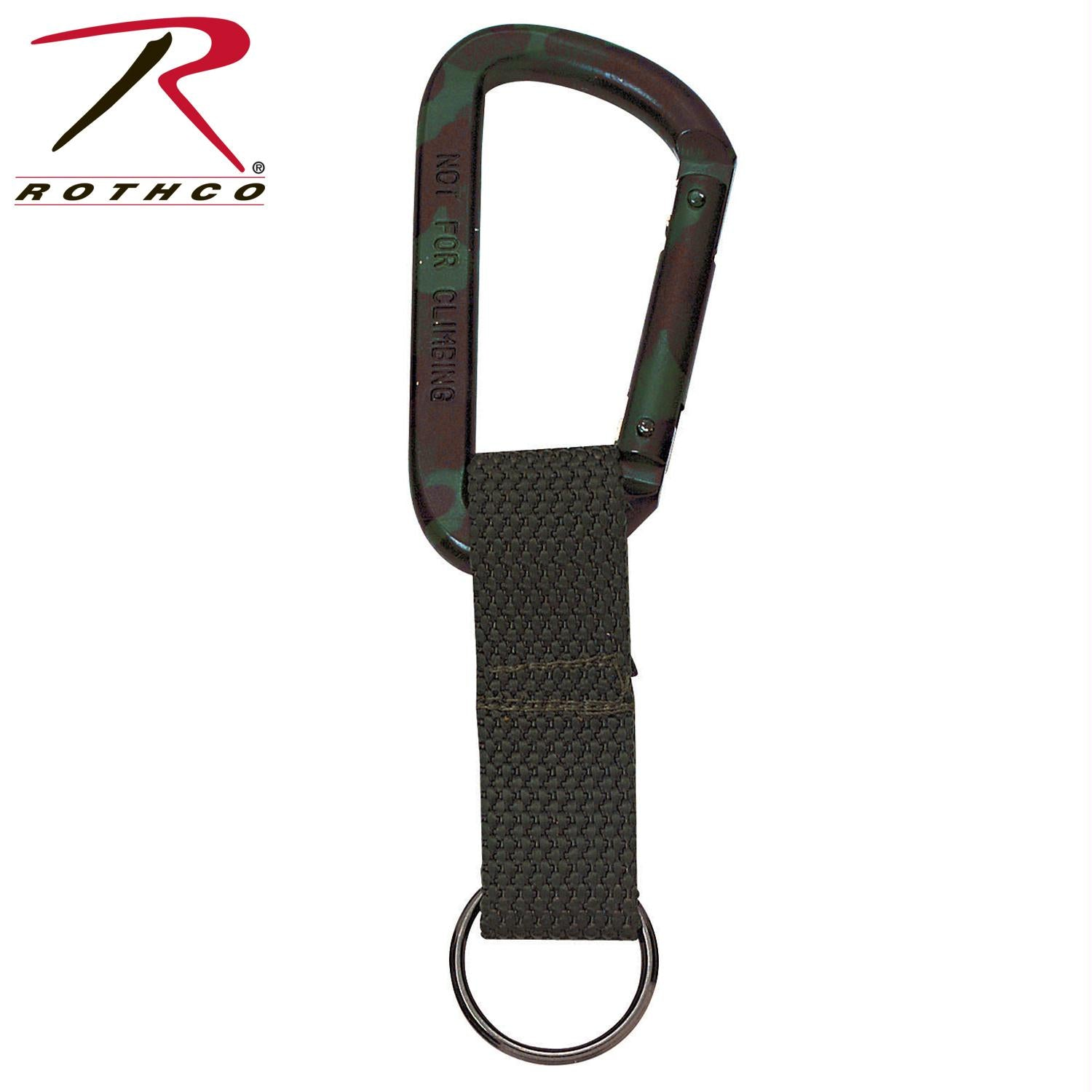 Rothco Jumbo 80MM Carabiner With Web Strap Key Ring - Woodland Camo