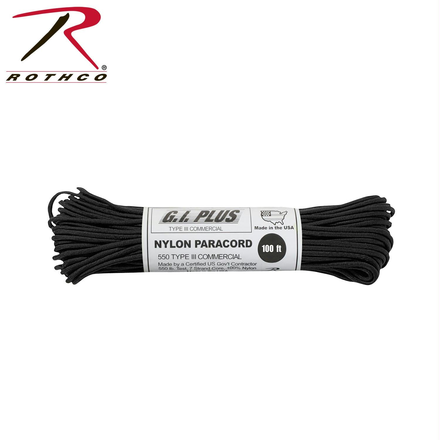 Rothco Nylon Paracord Type III 550 LB 100FT - Black