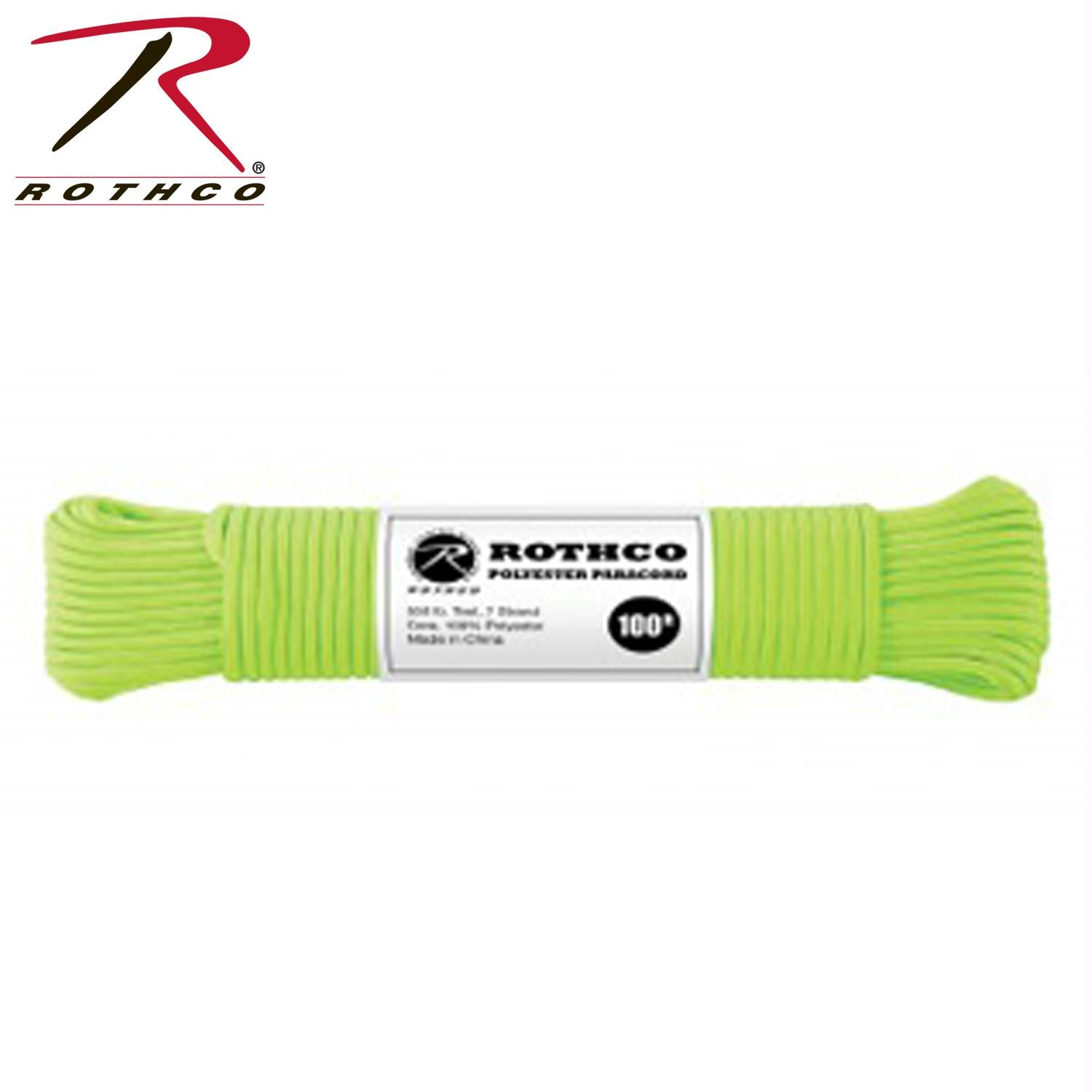 Rothco Polyester Paracord - Safety Green / 100'