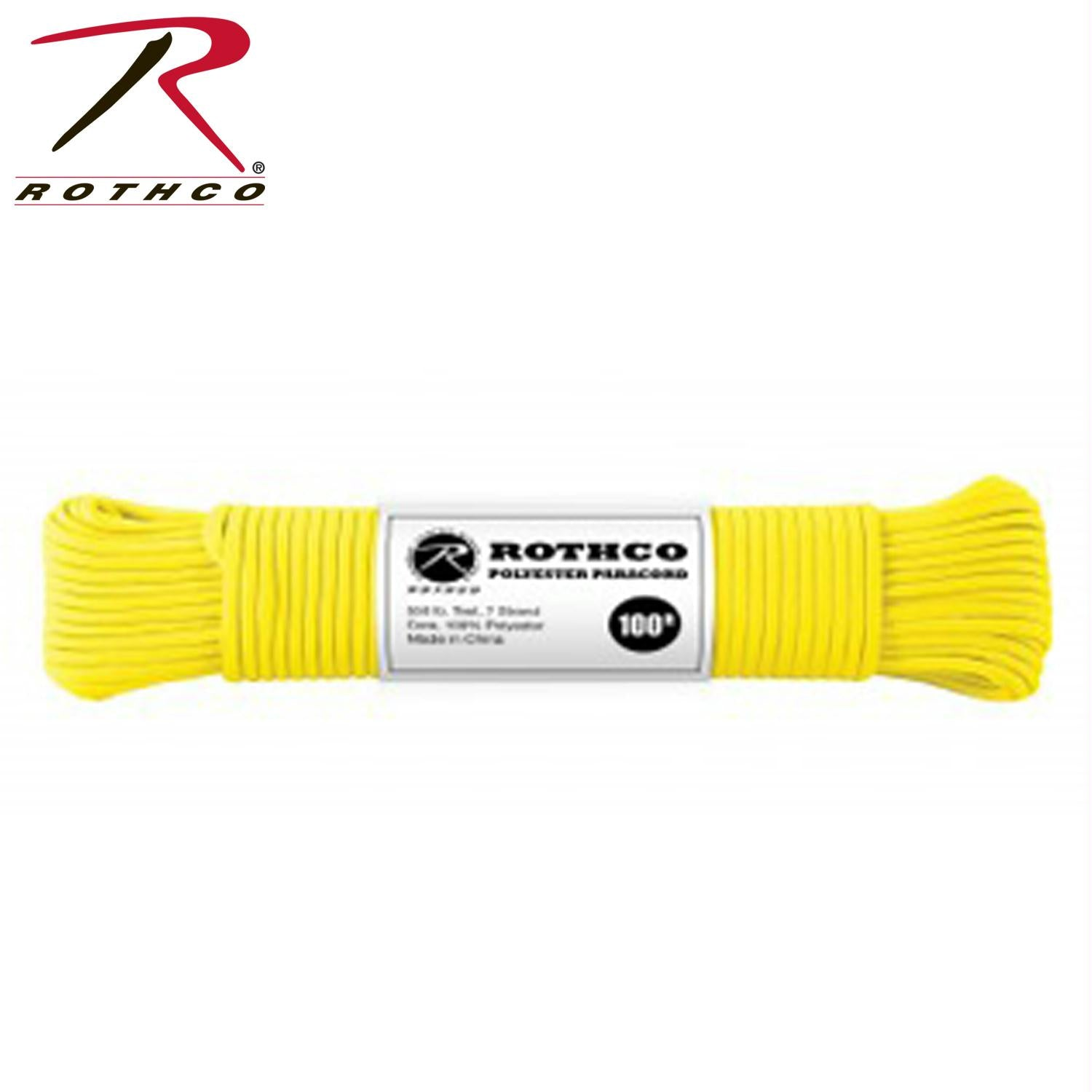 Rothco Polyester Paracord - Safety Yellow / 100'