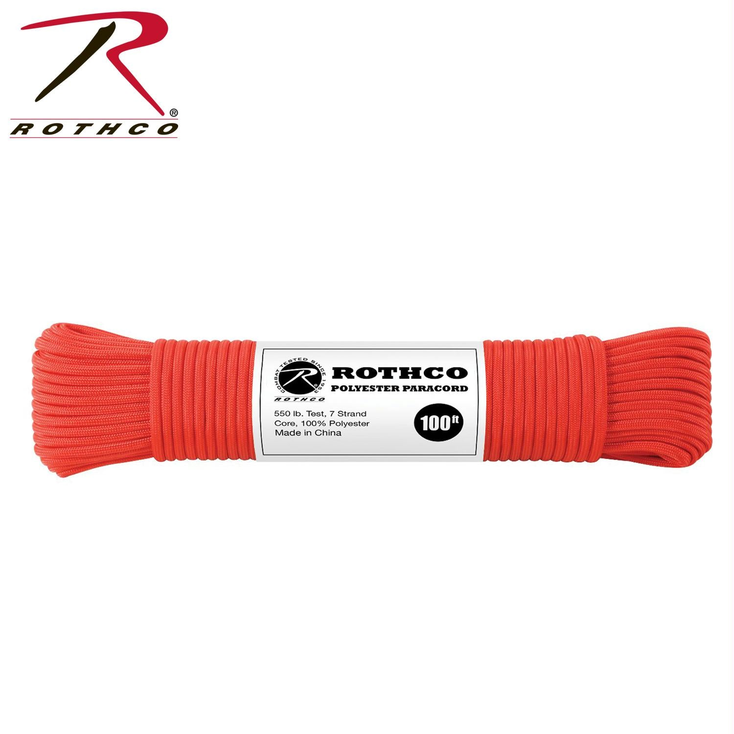 Rothco Polyester Paracord - Red / 100'