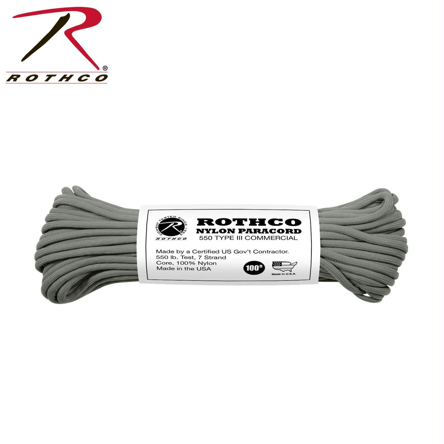 Rothco Nylon Paracord Type III 550 LB 100FT - Foliage Green