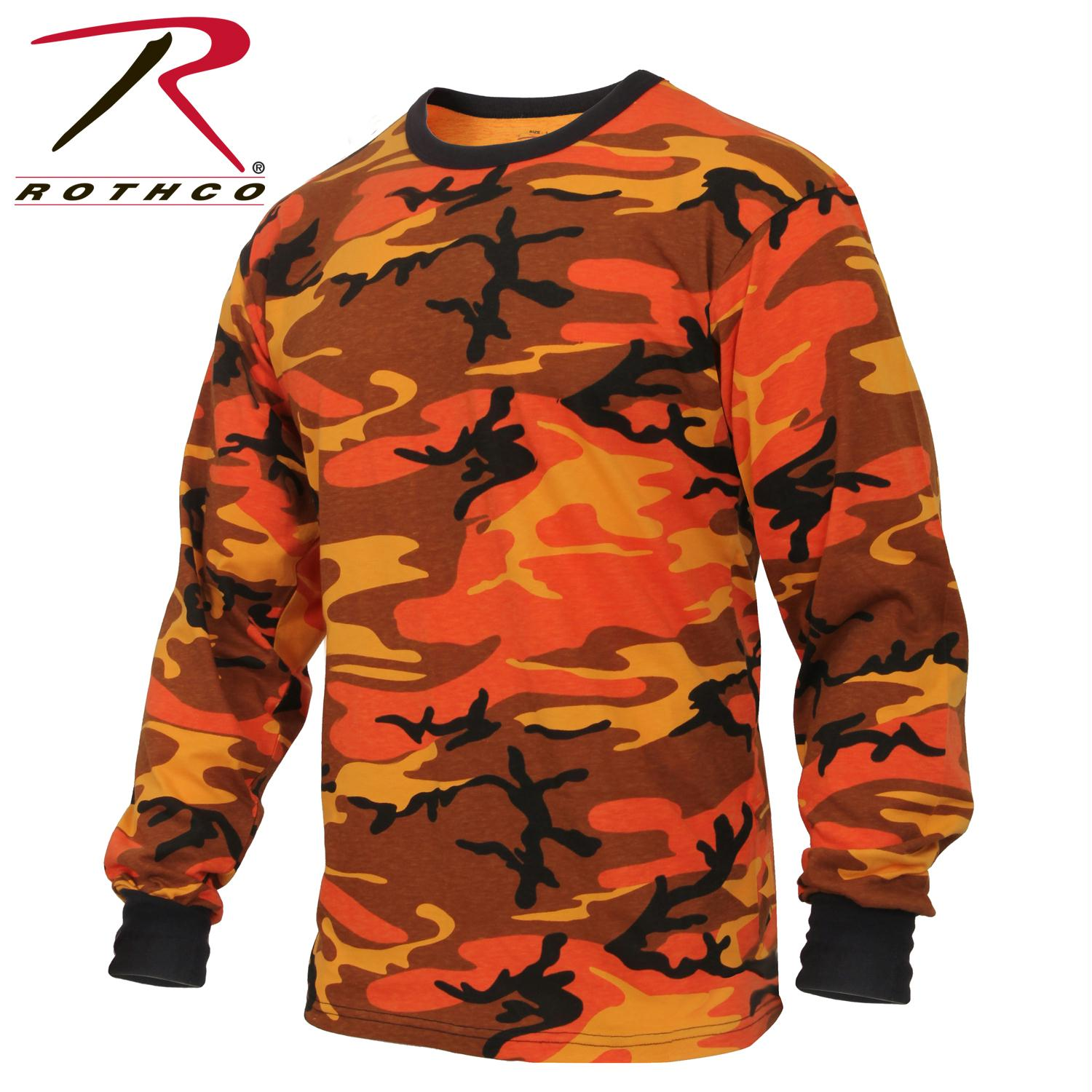 Rothco Long Sleeve Colored Camo T-Shirt - Savage Orange Camo / 2XL