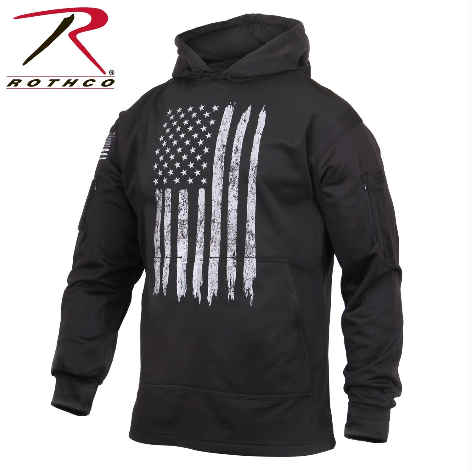 Rothco Distressed US Flag Concealed Carry Hooded Sweatshirt - Black / 2XL