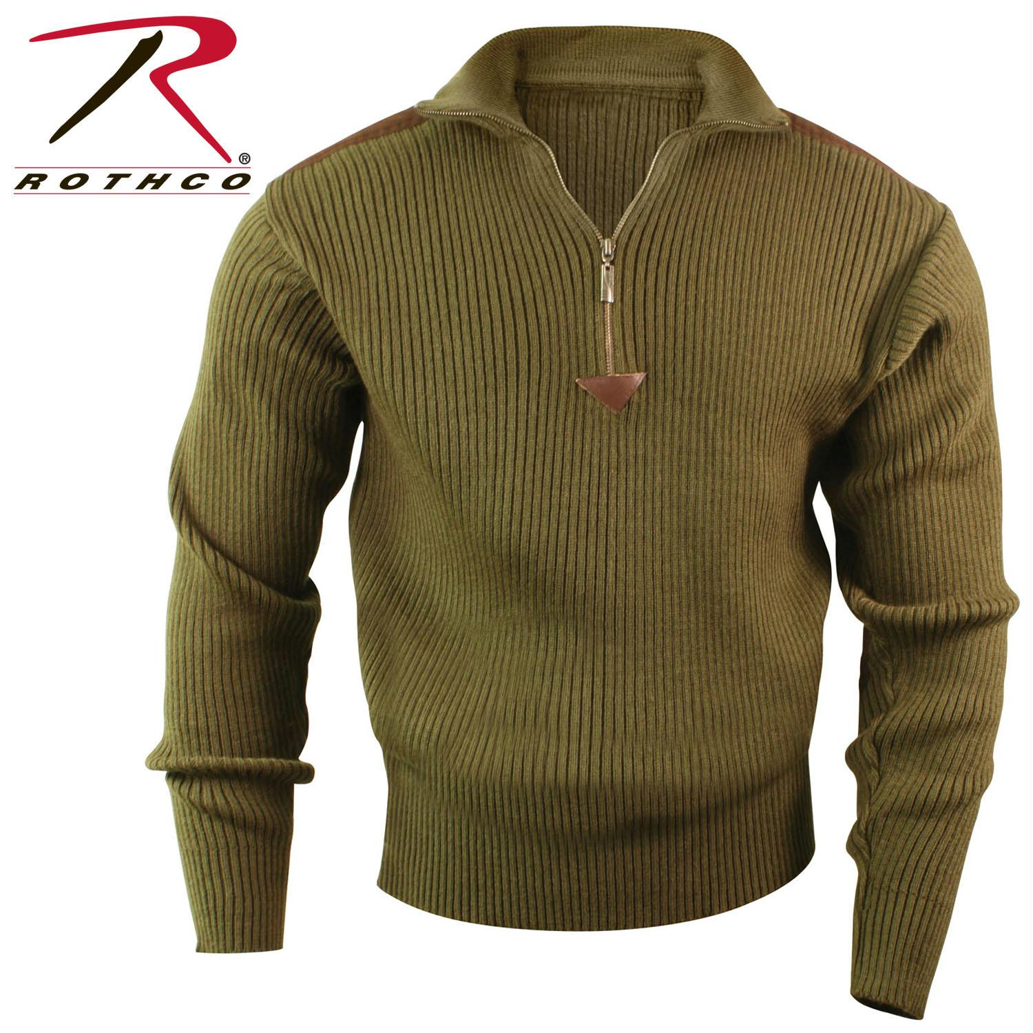Rothco Quarter Zip Acrylic Commando Sweater - Olive Drab / L