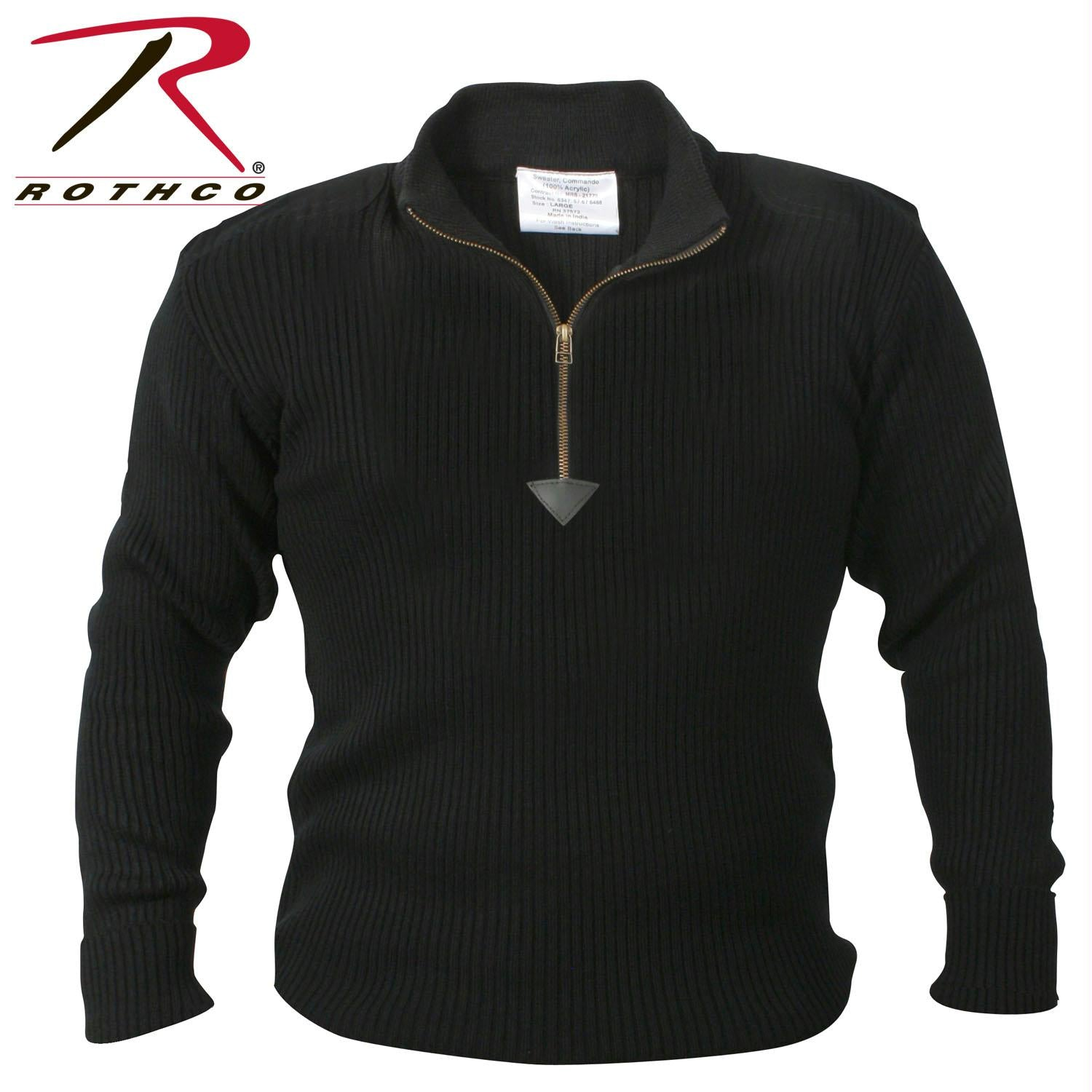 Rothco Quarter Zip Acrylic Commando Sweater - Black / S