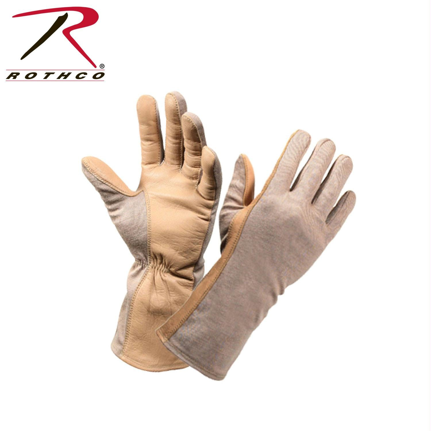 Rothco G.I. Type Flame & Heat Resistant Flight Gloves - Desert Sand / 10
