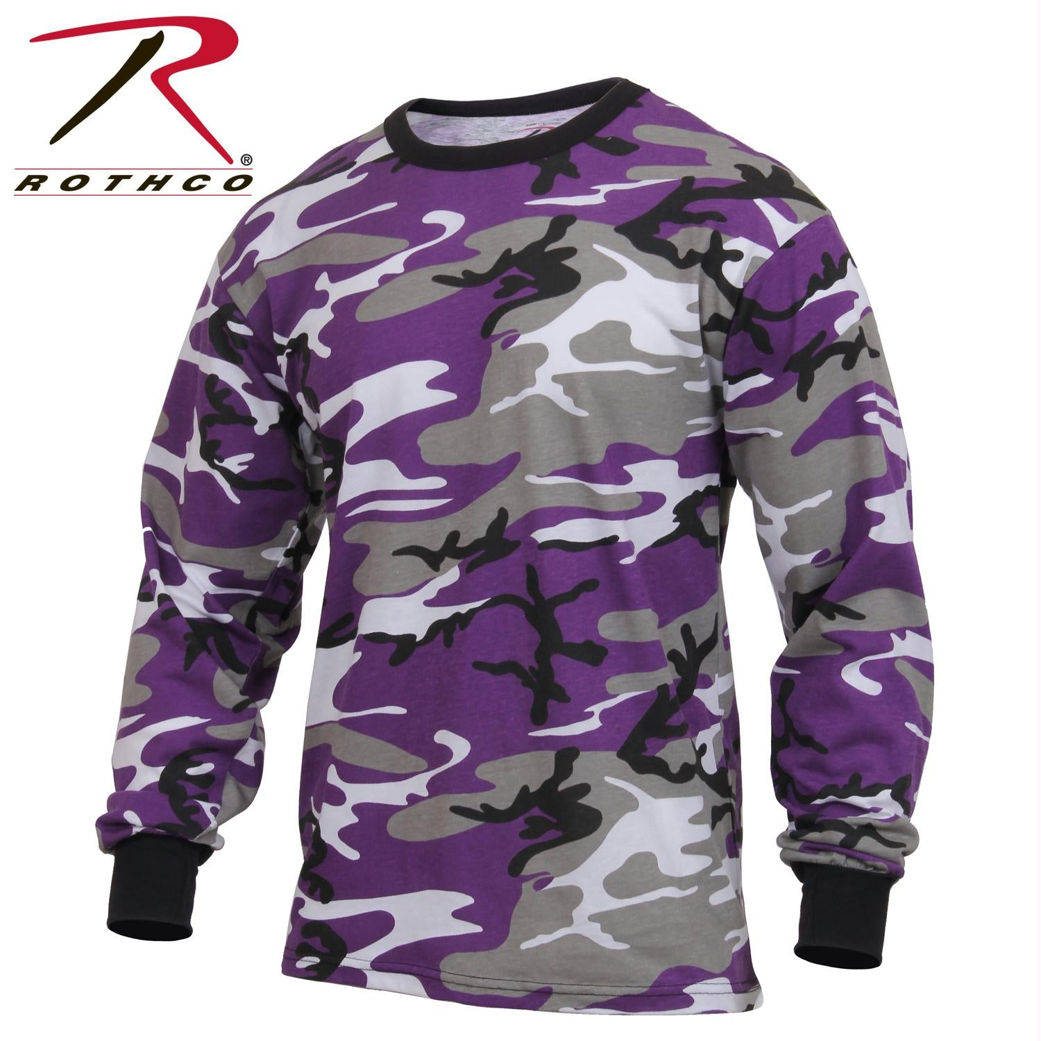 Rothco Long Sleeve Colored Camo T-Shirt - Ultra Violet Camo / XL