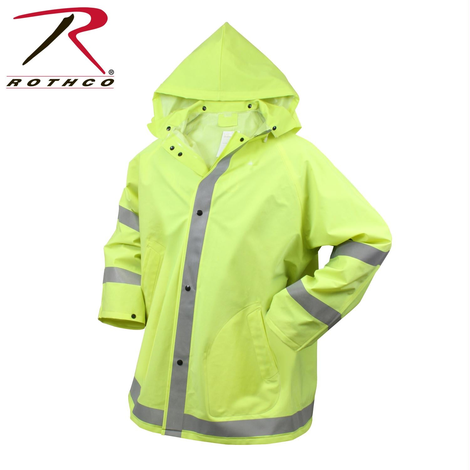 Rothco Safety Reflective Rain Jacket - Safety Green / S