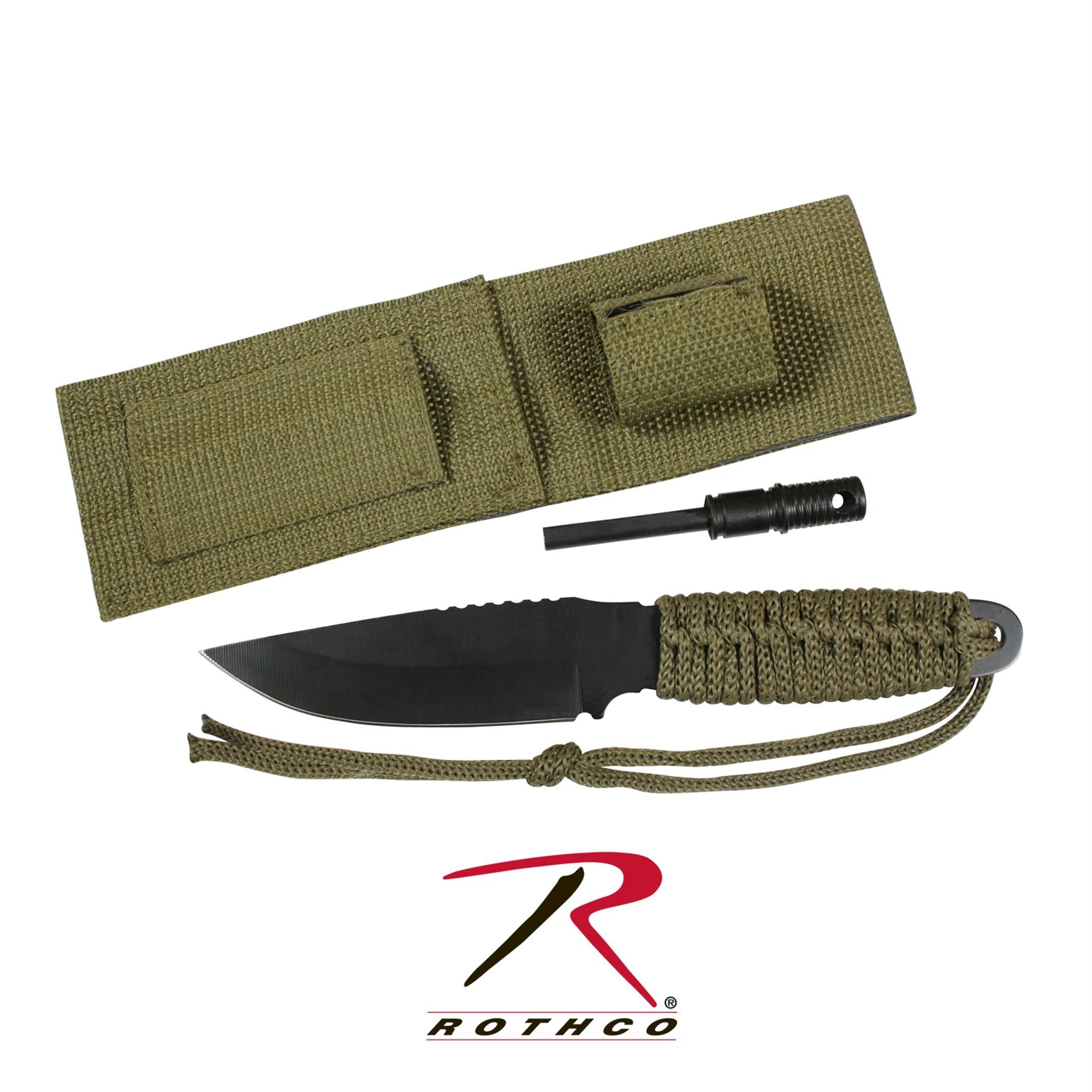 Rothco Paracord Knife With Fire Starter - Olive Drab