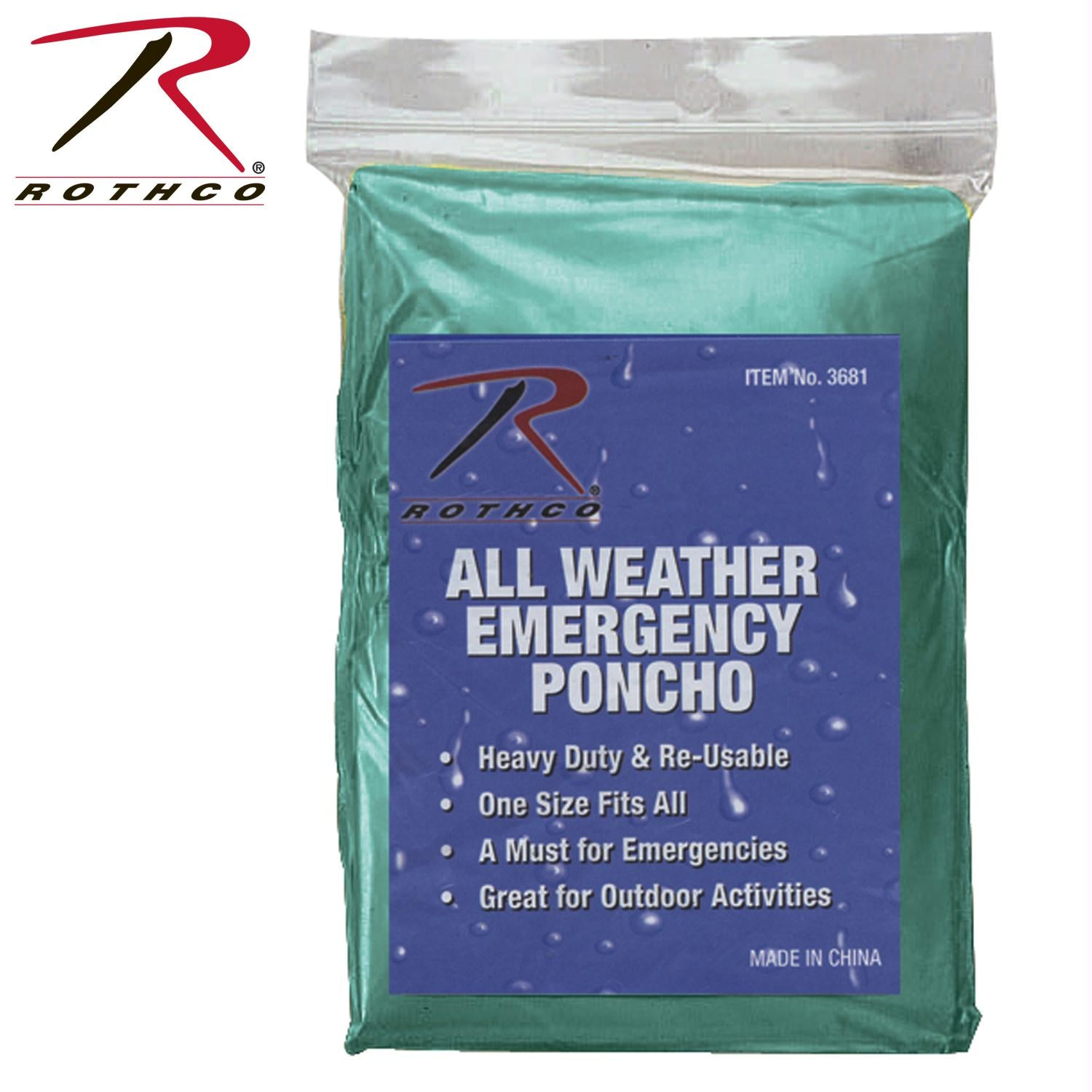 Rothco All Weather Emergency Poncho - Olive Drab