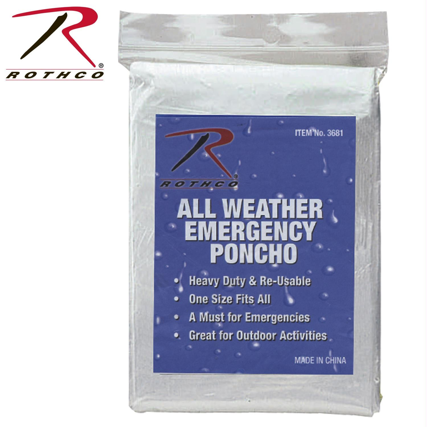 Rothco All Weather Emergency Poncho - Clear
