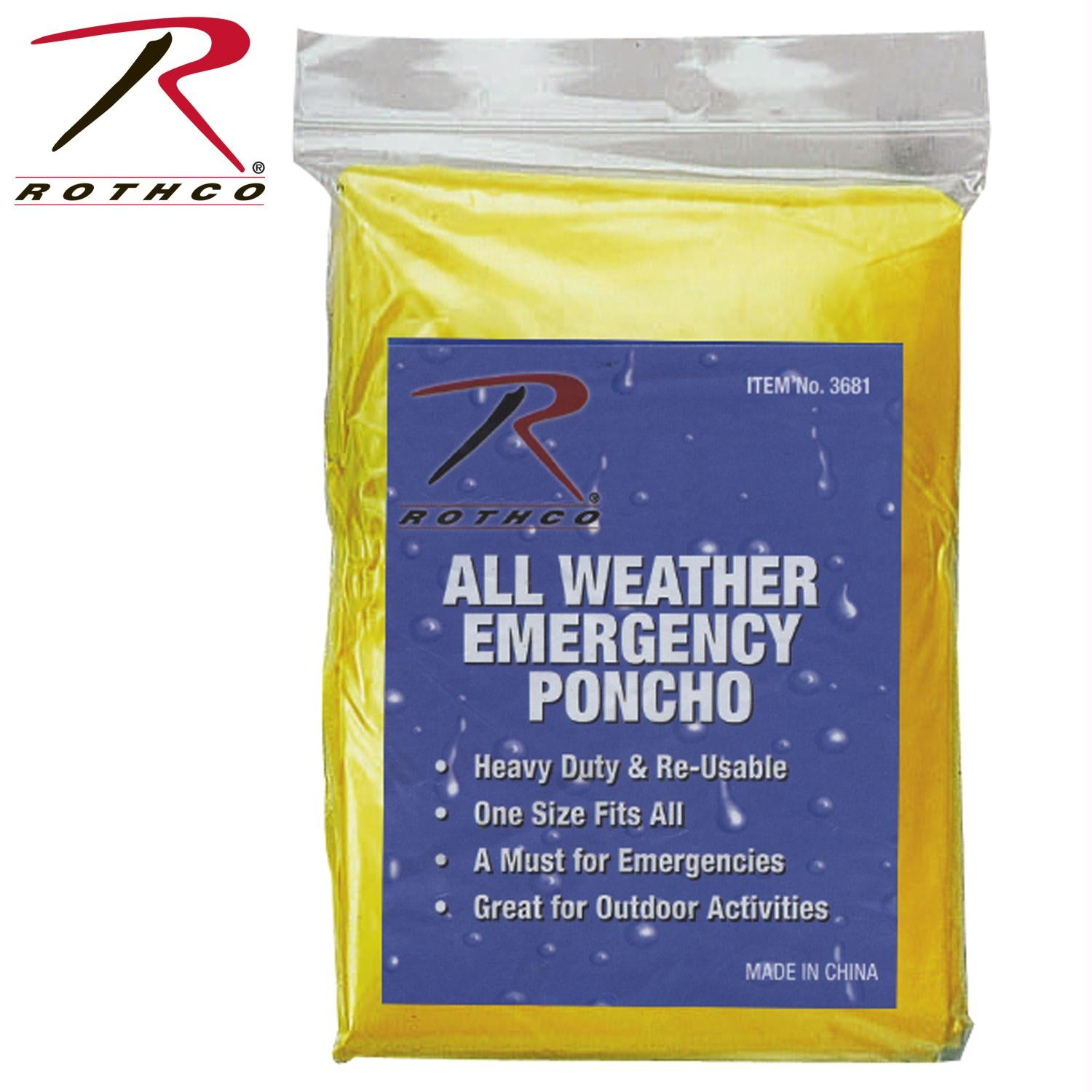 Rothco All Weather Emergency Poncho - Yellow