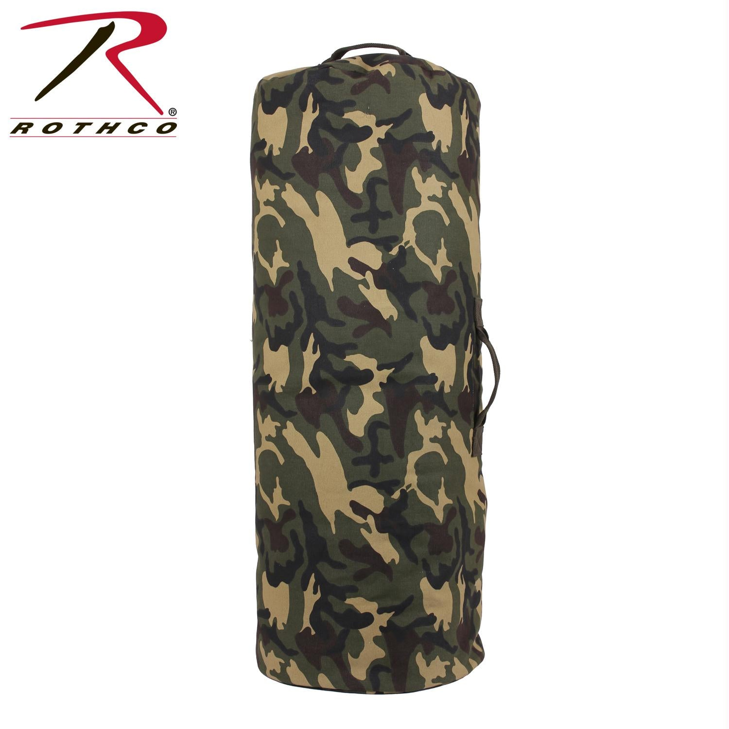 Rothco Canvas Duffle Bag w/ Side Zipper - Woodland Camo / 25