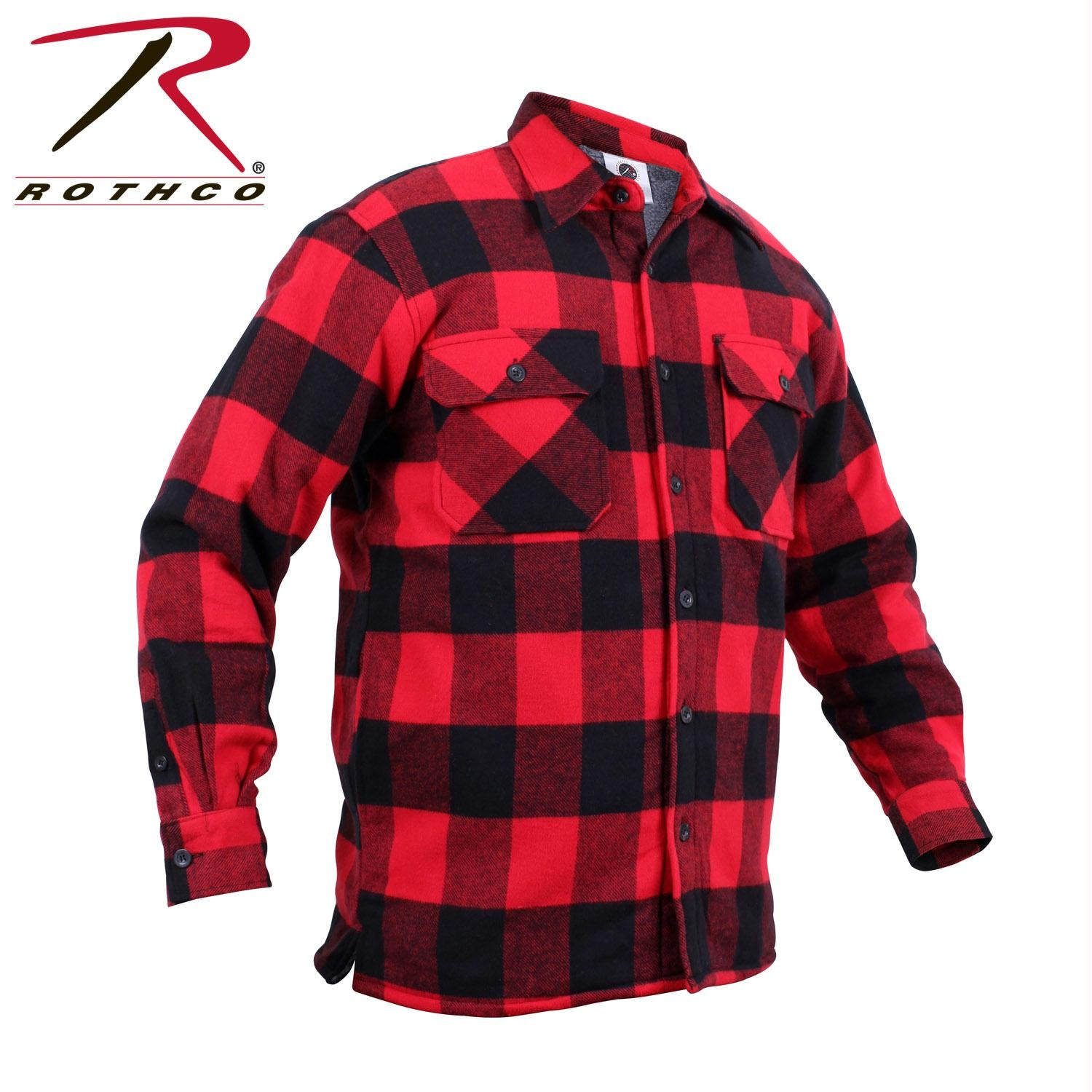 Rothco Extra Heavyweight Buffalo Plaid Sherpa-lined Flannel Shirts - Red / S