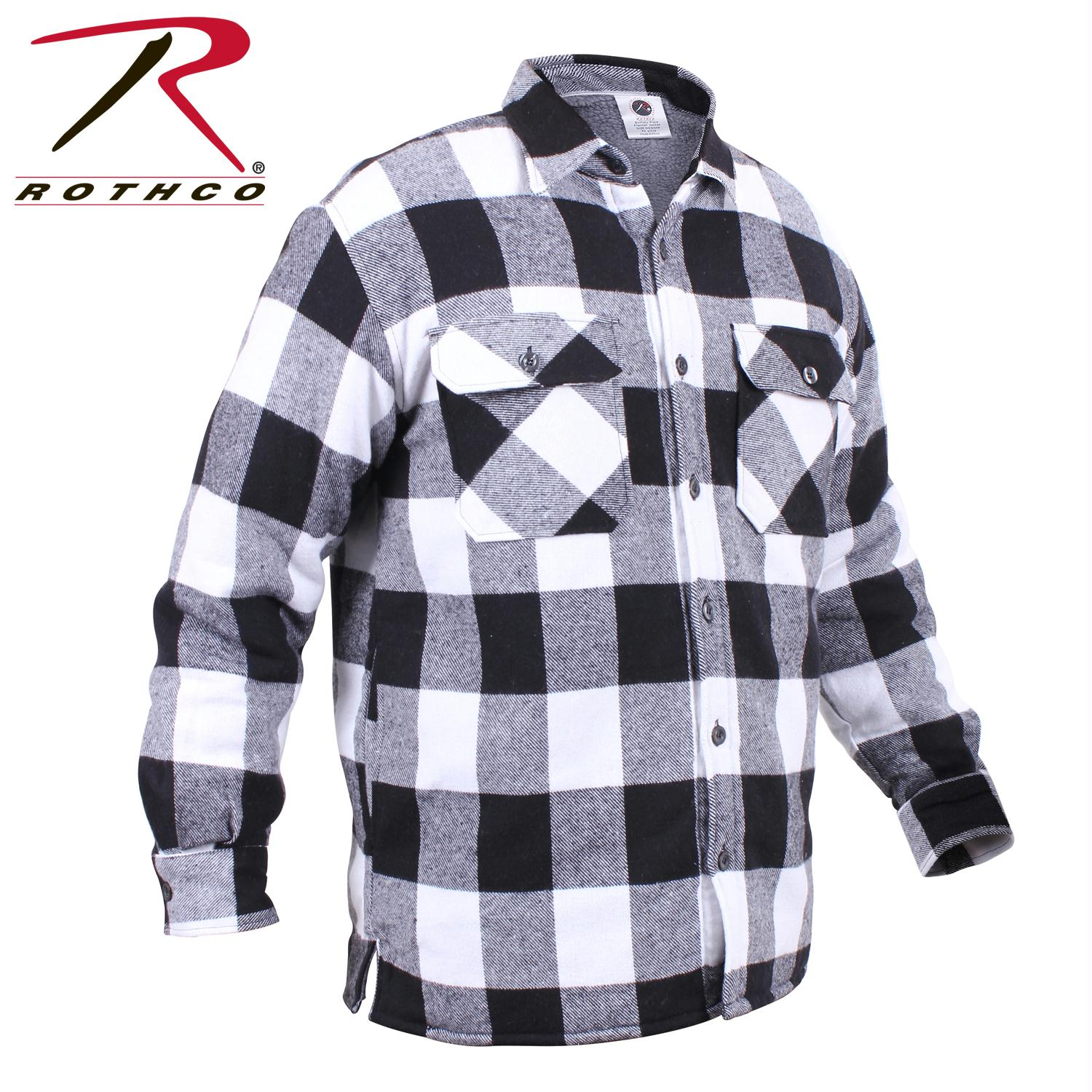 Rothco Extra Heavyweight Buffalo Plaid Sherpa-lined Flannel Shirts - White / S