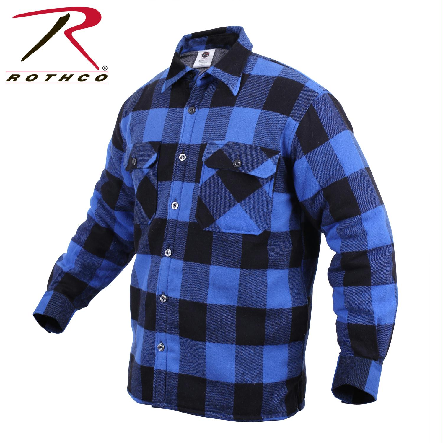 Rothco Extra Heavyweight Buffalo Plaid Sherpa-lined Flannel Shirts - Blue / 3XL