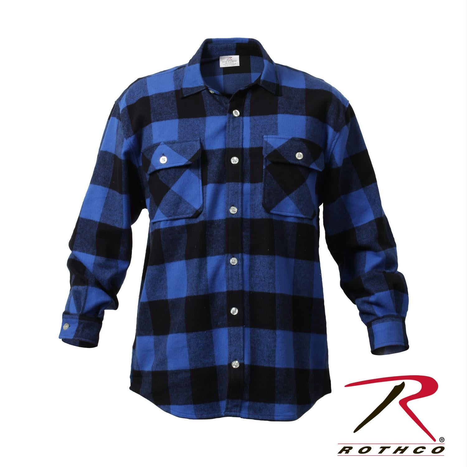 Rothco Extra Heavyweight Buffalo Plaid Flannel Shirts - Blue Plaid / 5XL