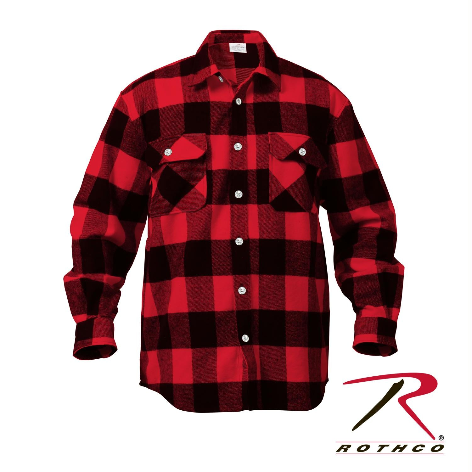 Rothco Extra Heavyweight Buffalo Plaid Flannel Shirts - Red Plaid / 5XL