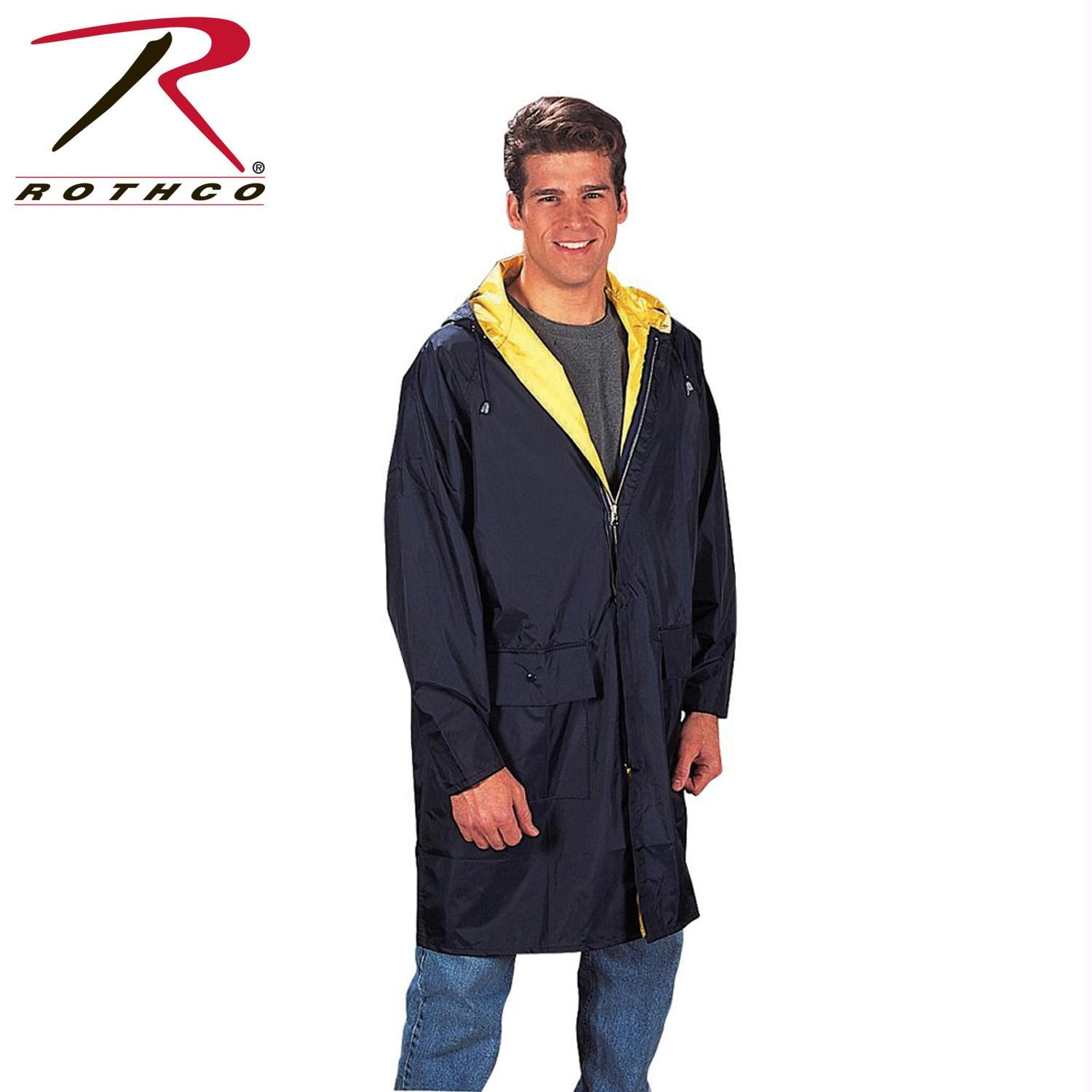 Rothco PVC Inner Attached Hood With Under Arm Vents - Navy Blue / Yellow / XL