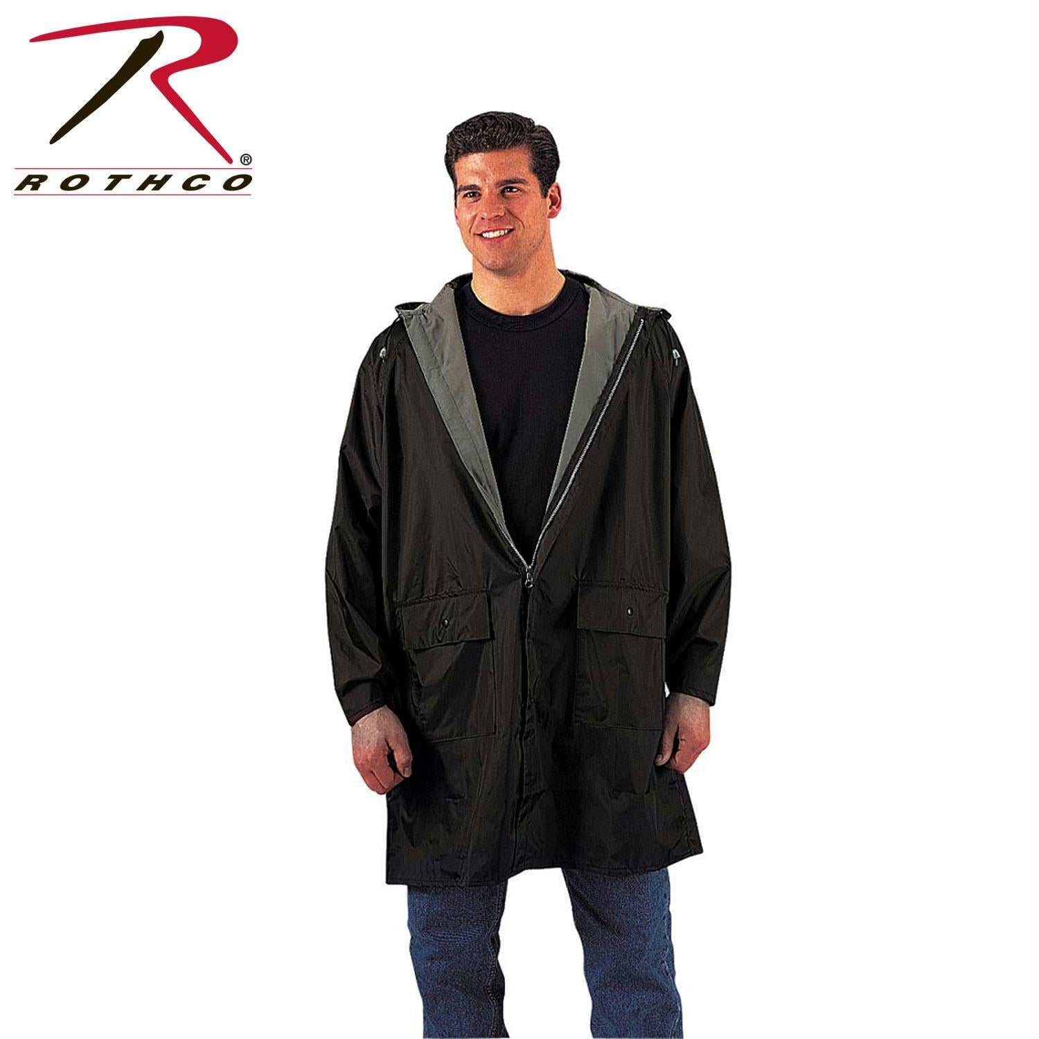 Rothco PVC Inner Attached Hood With Under Arm Vents - Black / Olive Drab / M