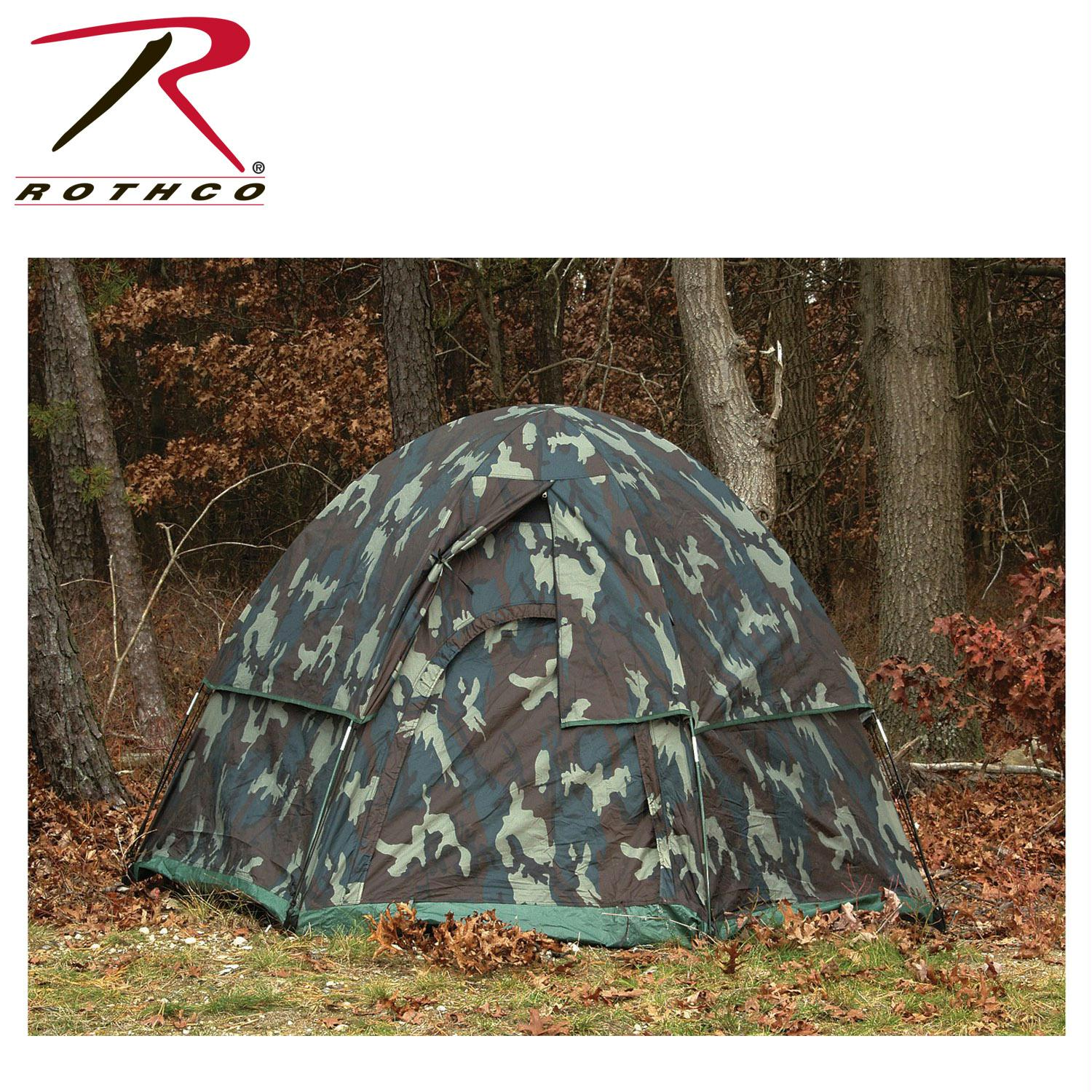 Rothco Camo 3-Man Hexagon Dome Tent - Woodland Camo
