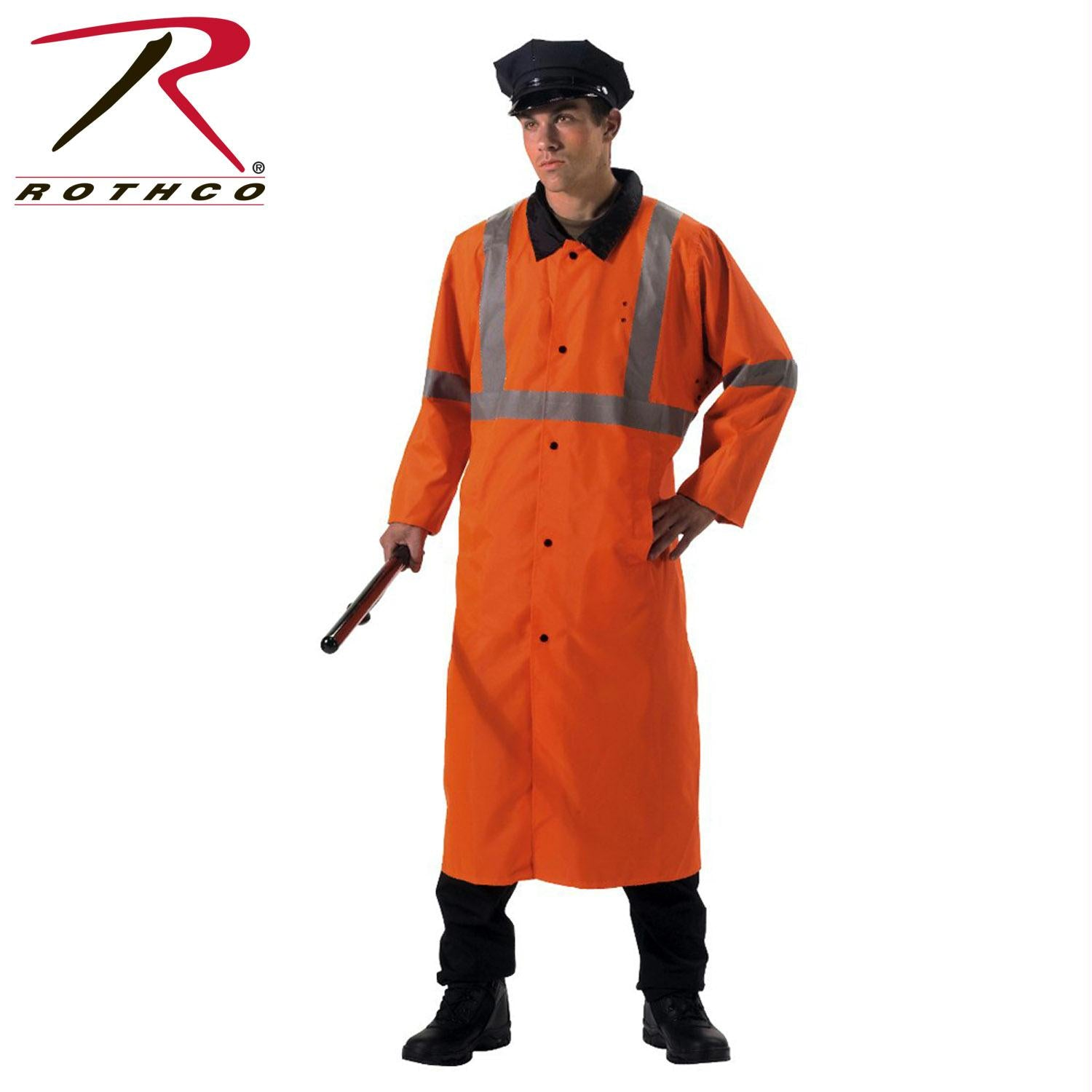 Rothco Reversible Reflective Rain Parka - Black / Orange / XL