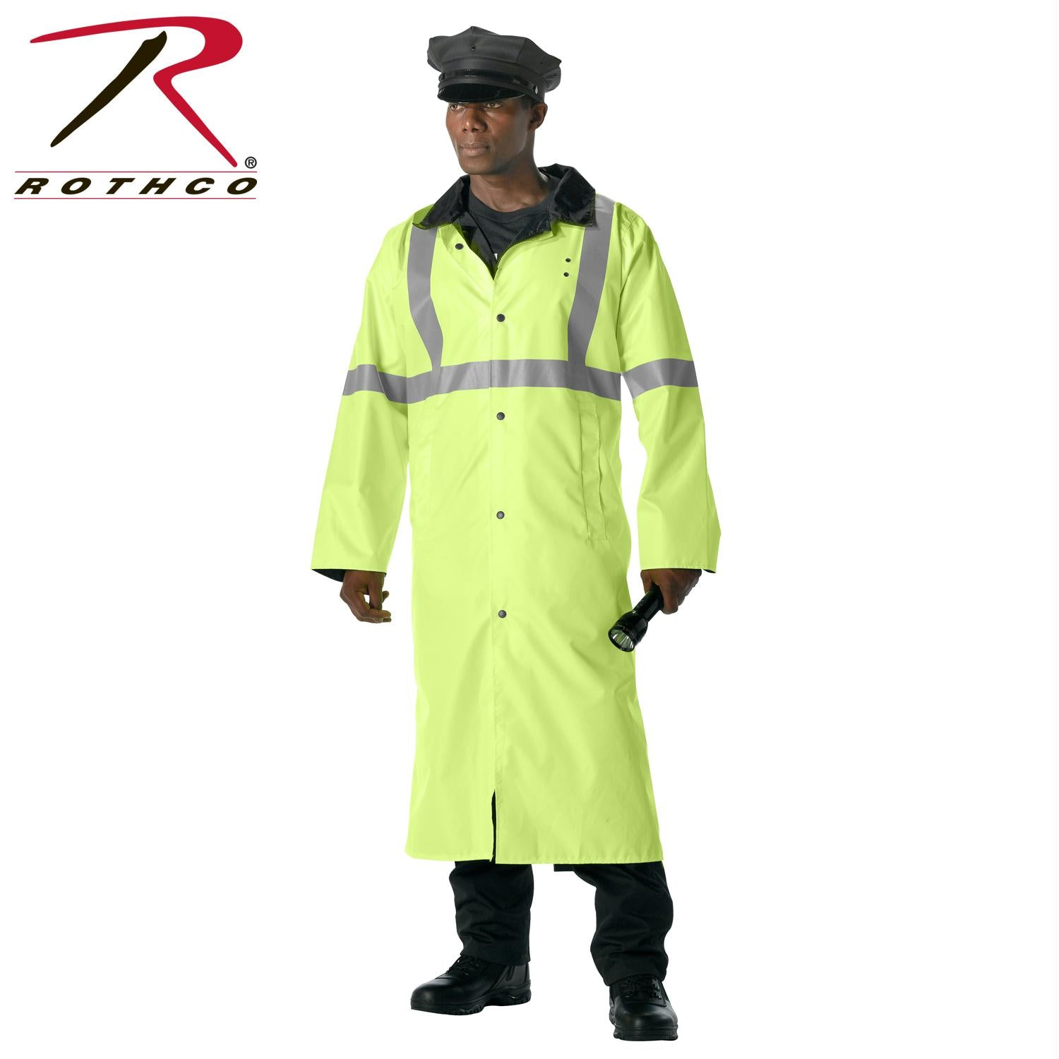 Rothco Reversible Reflective Rain Parka - Safety Green / L