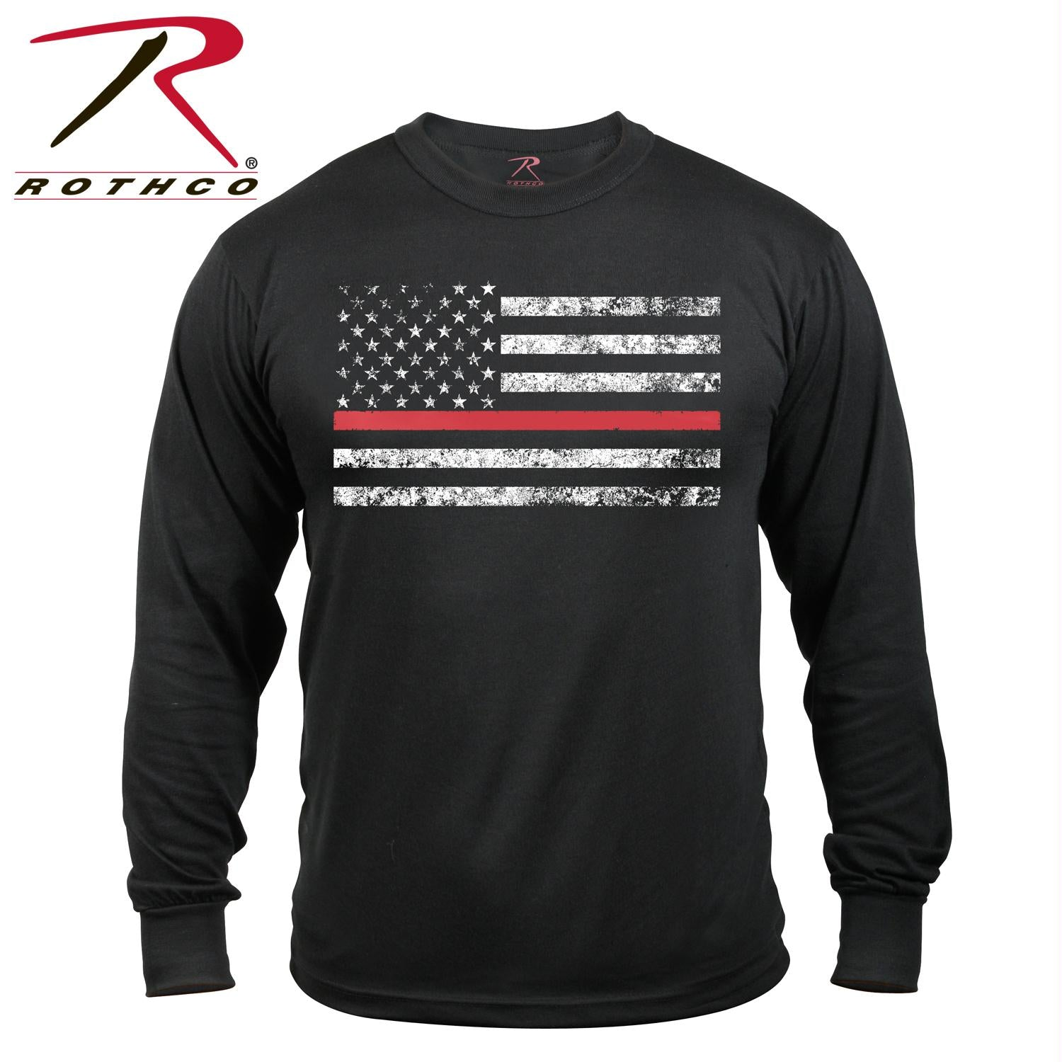 Rothco Thin Red Line Long Sleeve T-shirt - Black / S